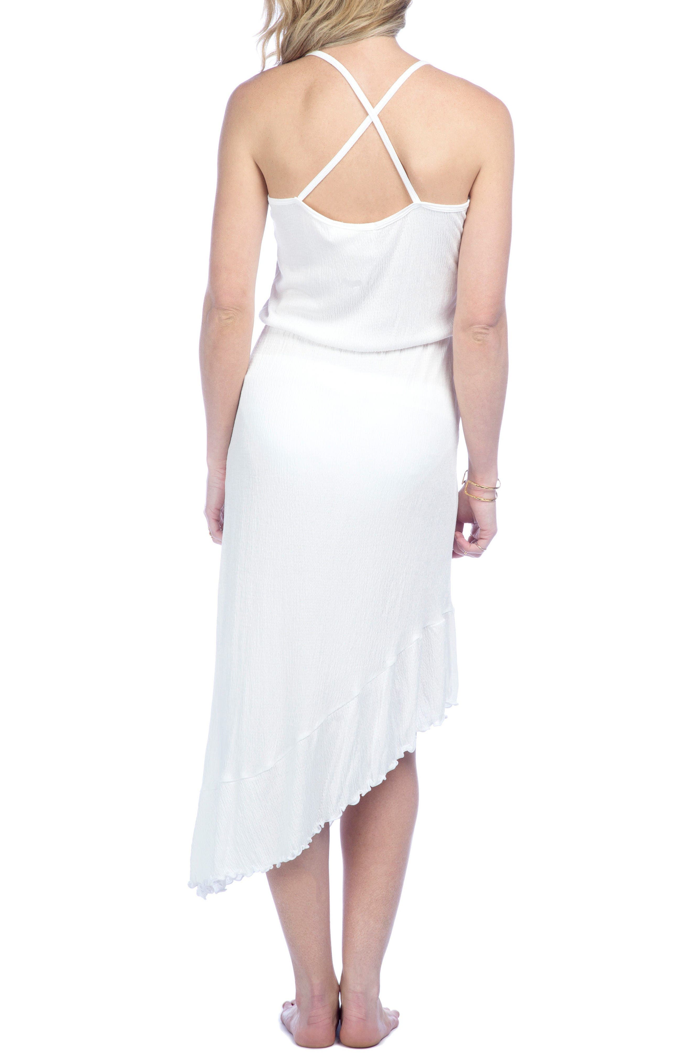 Asymmetrical Cover-Up Dress,                             Alternate thumbnail 2, color,                             White