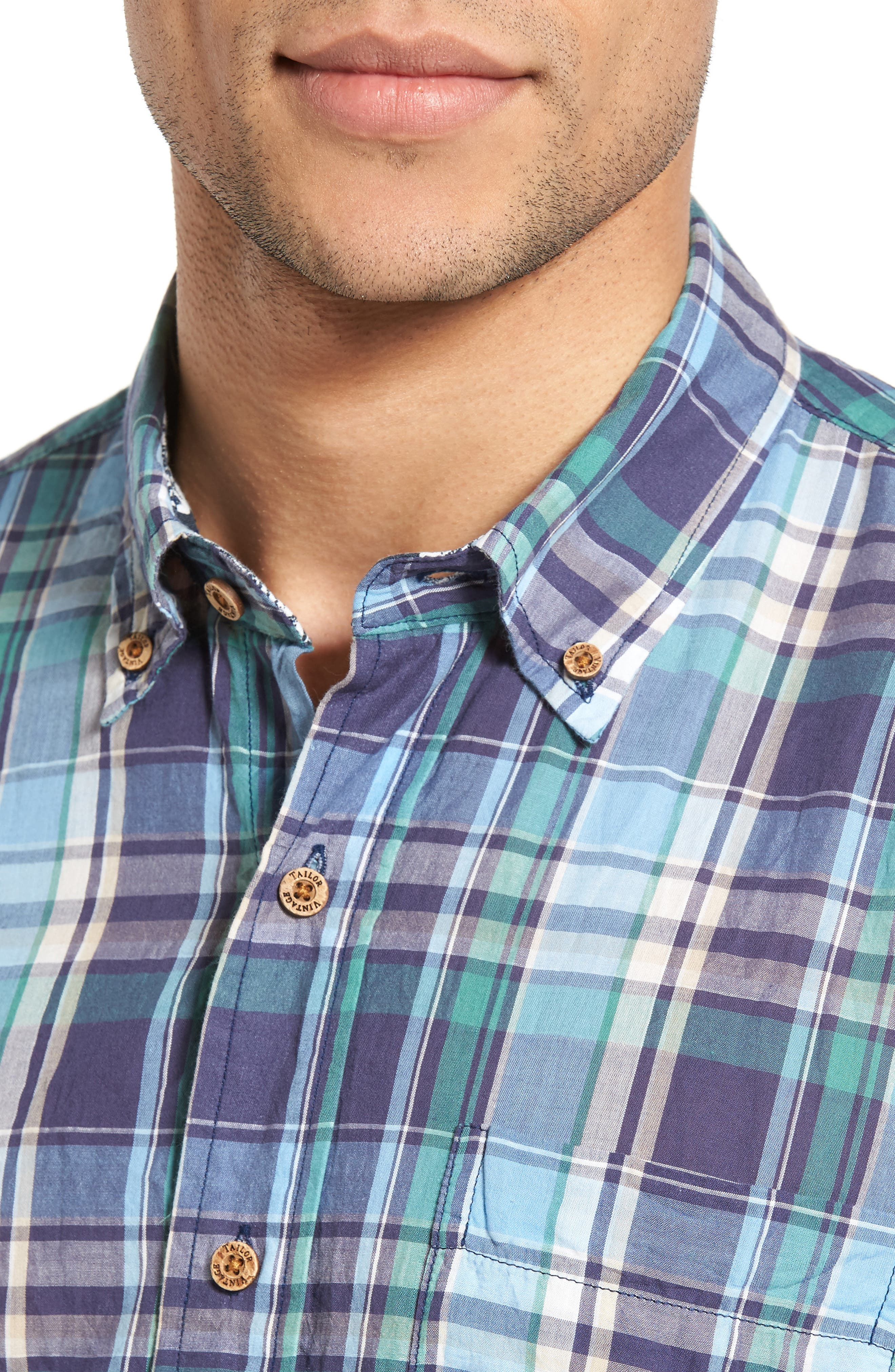 Alternate Image 4  - Tailor Vintage Crinkle Plaid Sport Shirt
