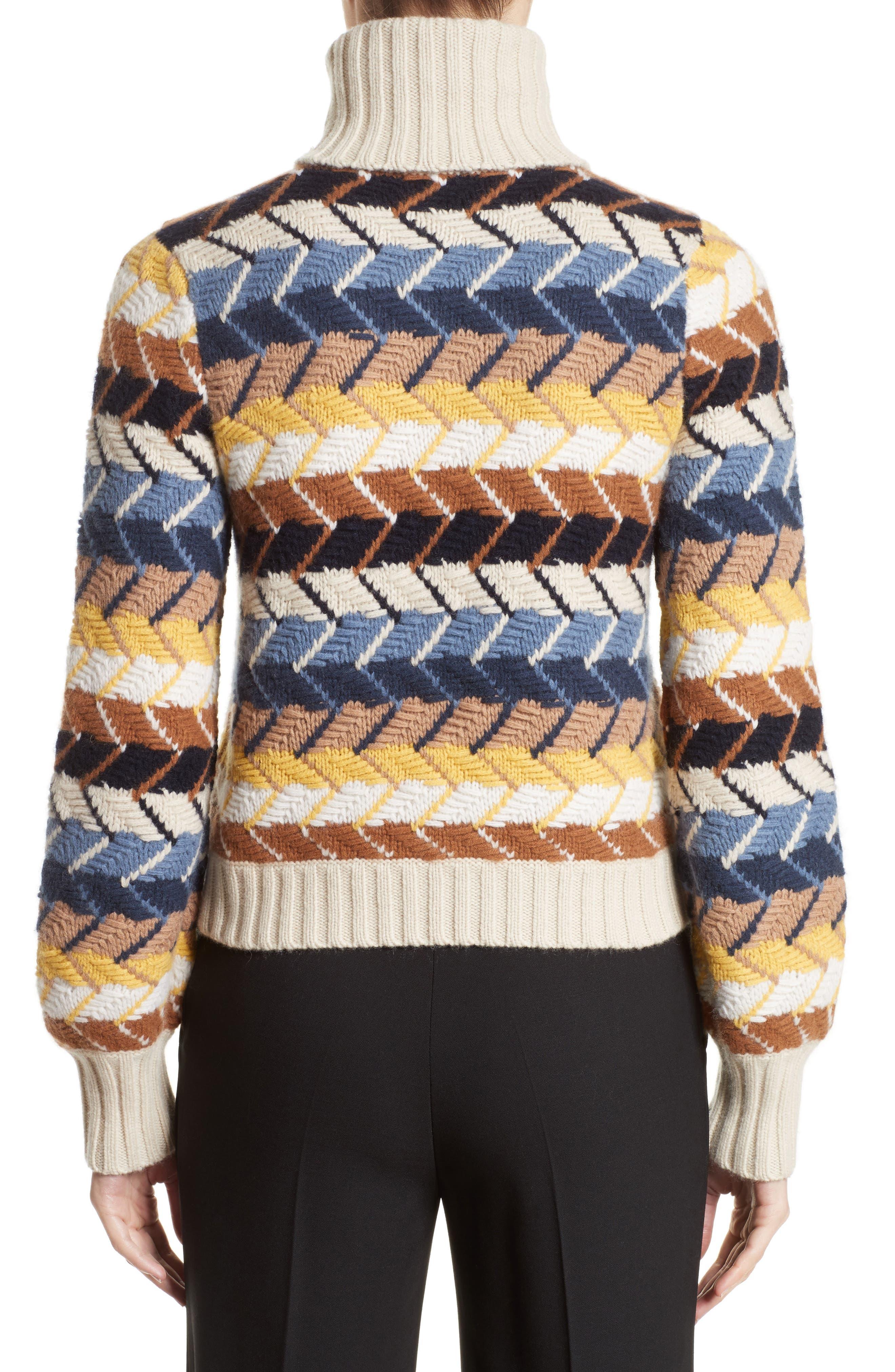 Herringbone Wool & Cashmere Turtleneck Sweater,                             Alternate thumbnail 2, color,                             Multicolor Blue