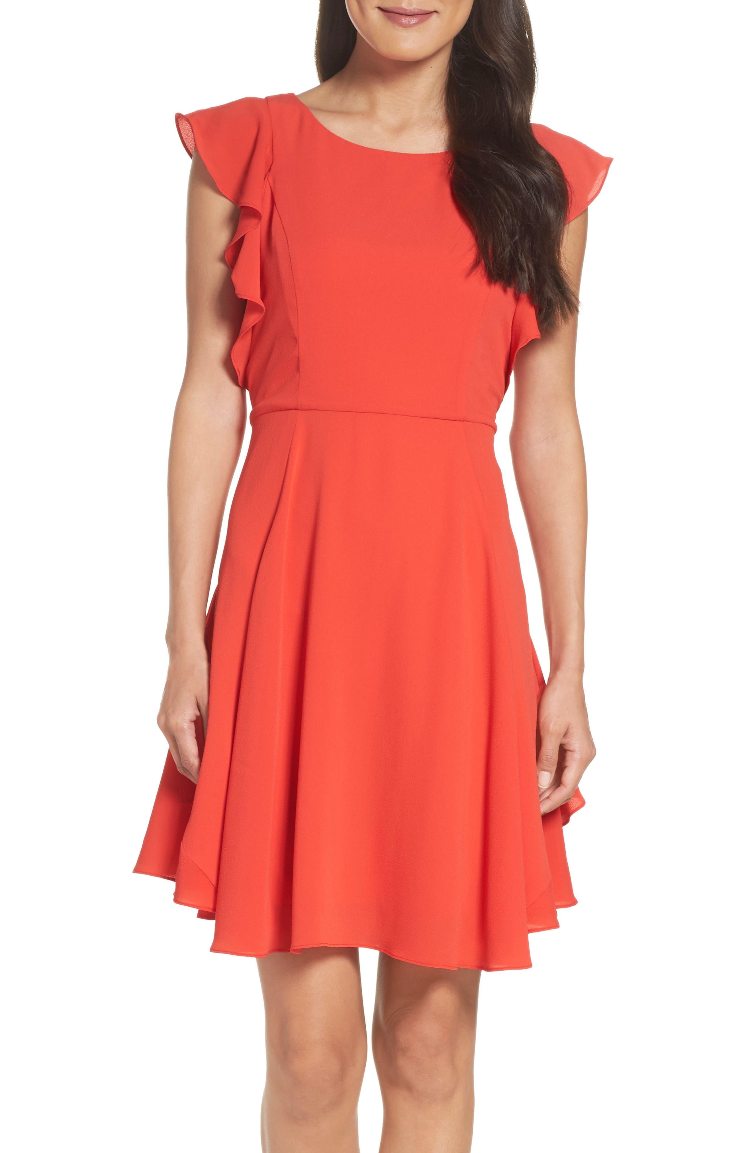 Ruffle Fit & Flare Dress,                             Alternate thumbnail 4, color,                             Raspberry