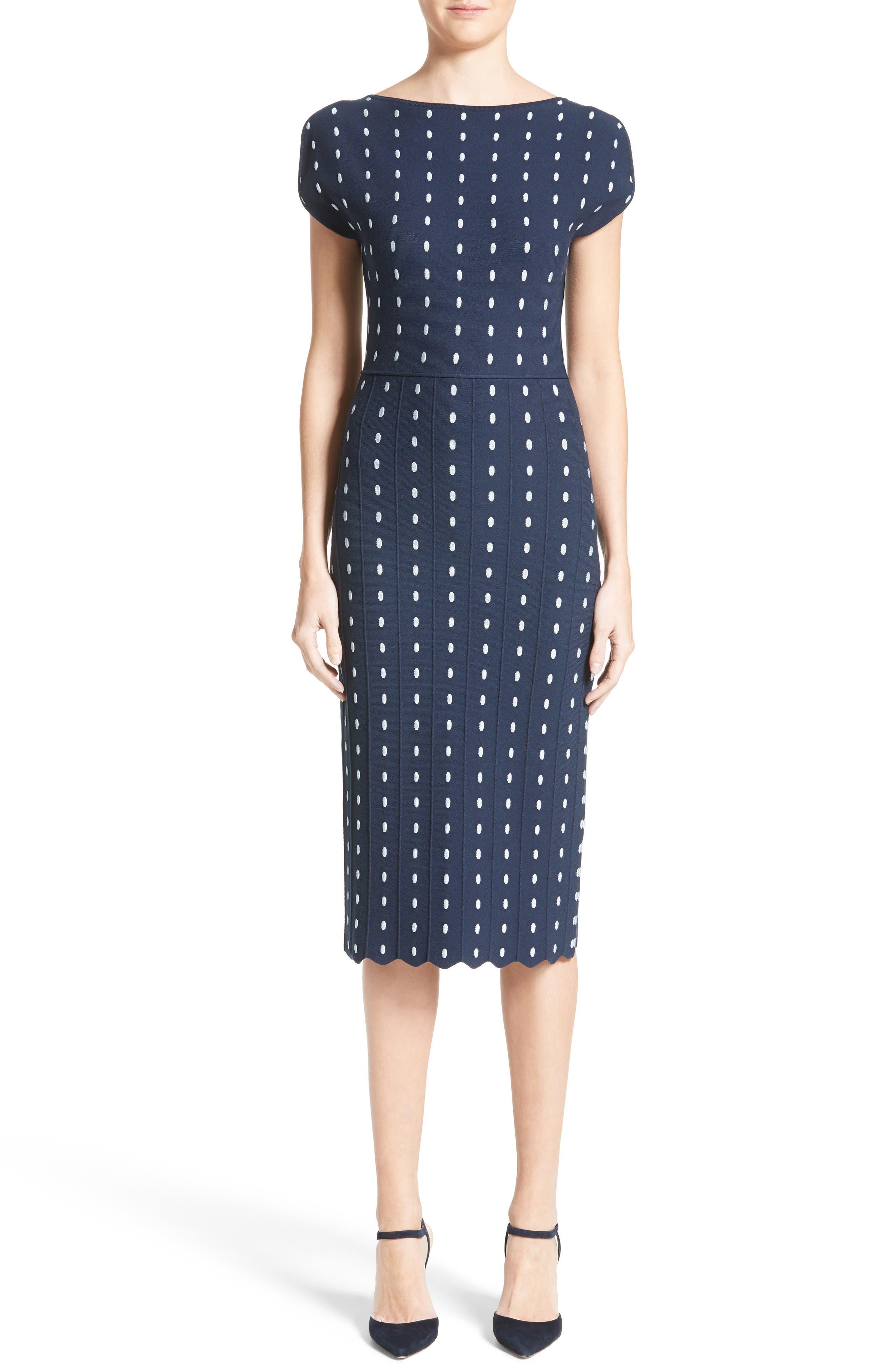 Dot Knit Sheath Dress,                             Main thumbnail 1, color,                             Navy/ Ice Blue