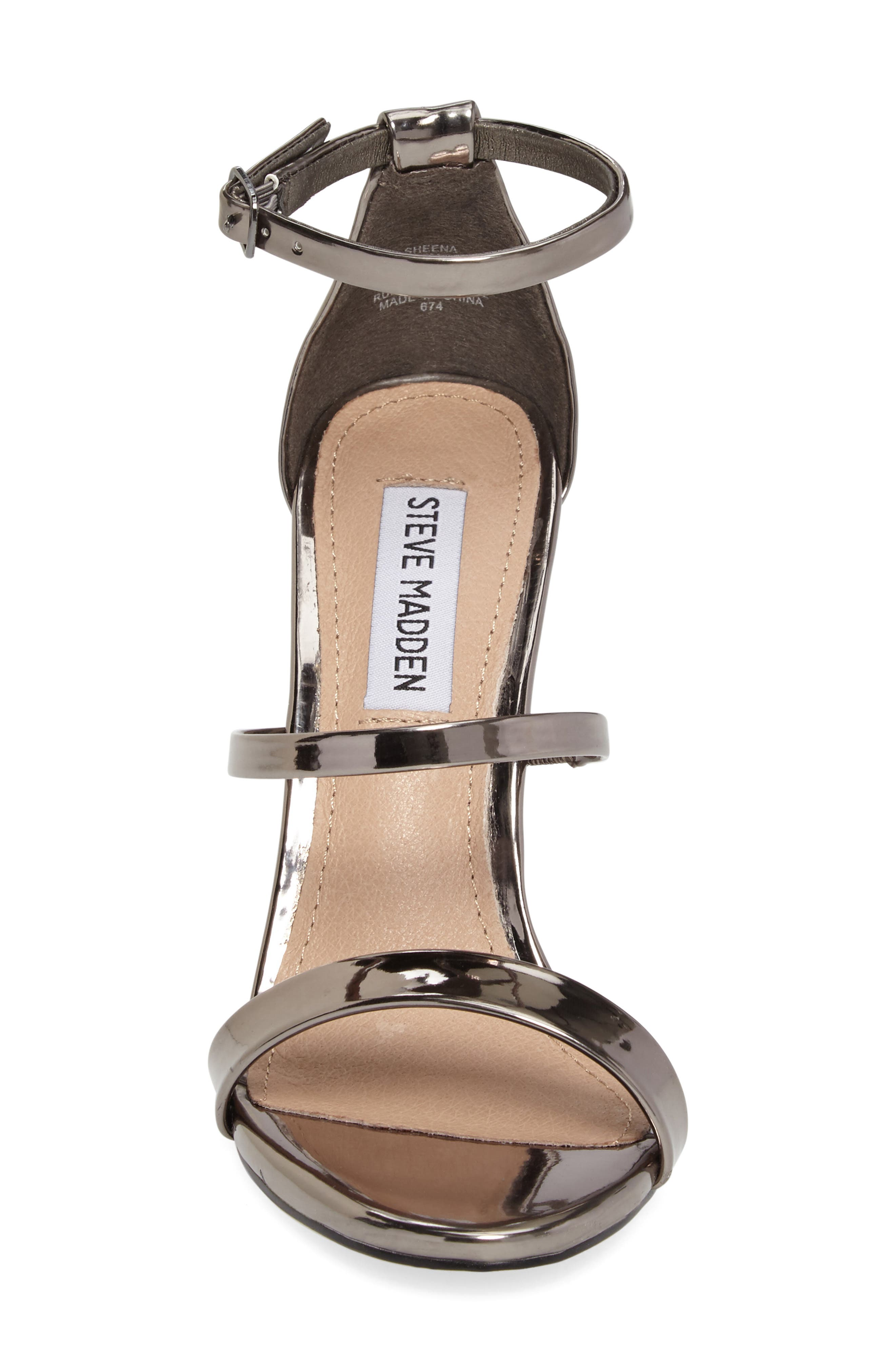 Sheena Strappy Sandal,                             Alternate thumbnail 4, color,                             Pewter Faux Leather