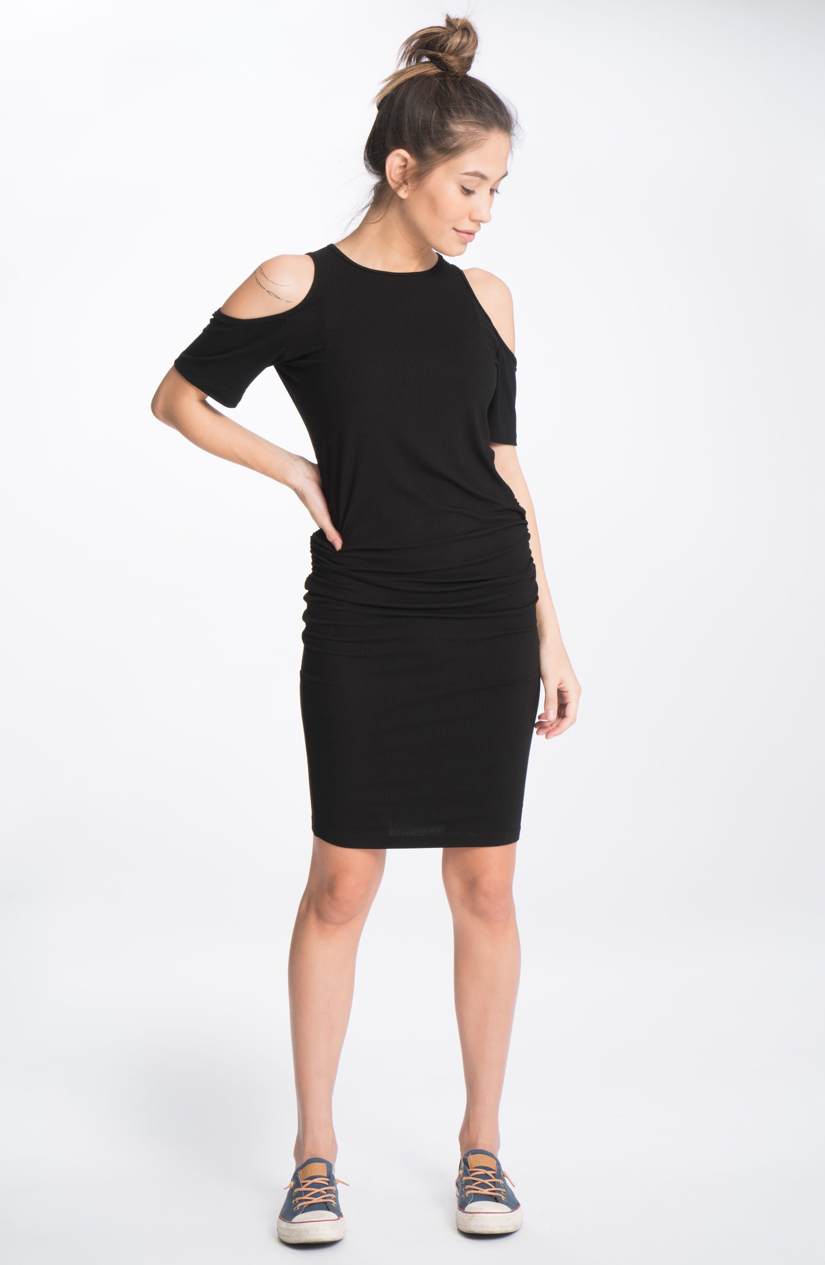 Cold-Shoulder Maternity Dress,                             Alternate thumbnail 2, color,                             Black