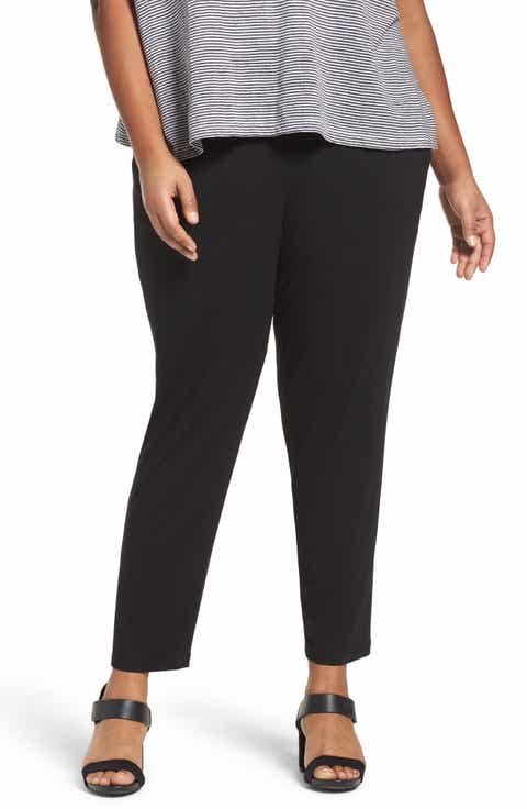 Eileen Fisher Crop Stretch Knit Pants (Plus Size)