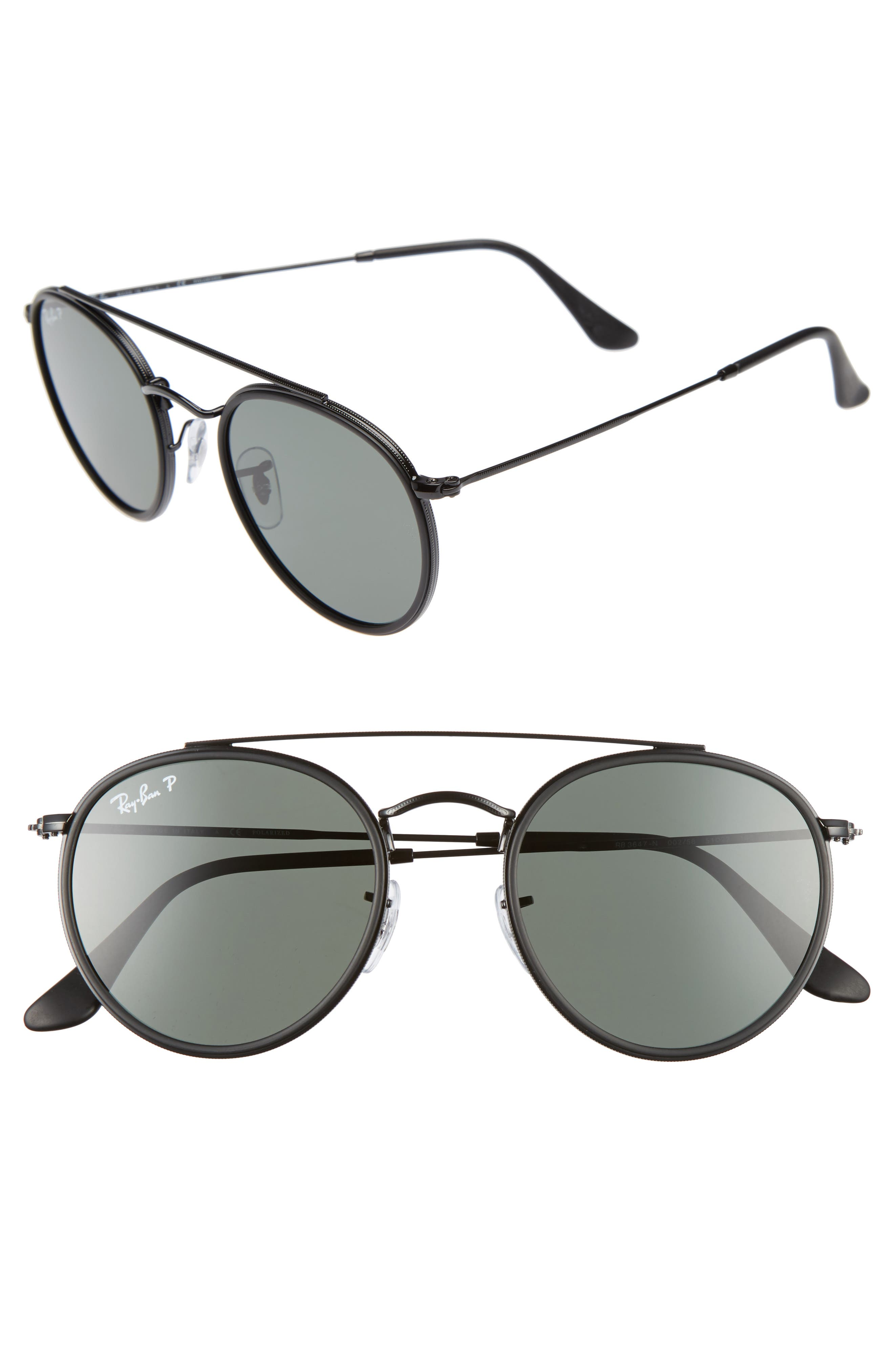 Icons 51mm Round Sunglasses,                         Main,                         color, Black/ Green