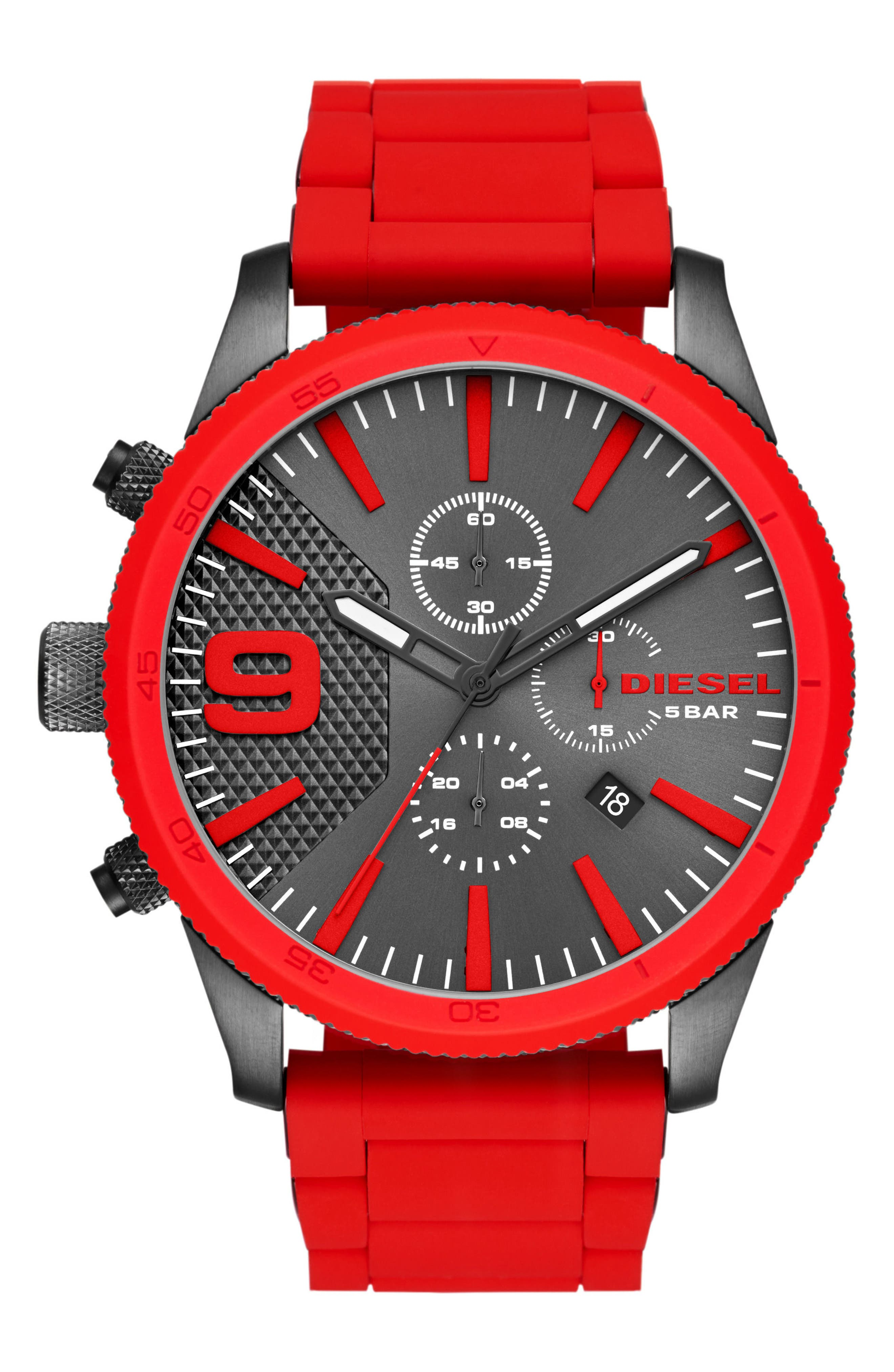 DIESEL<SUP>®</SUP> Rasp Chronograph Silicone Strap Watch, 50mm