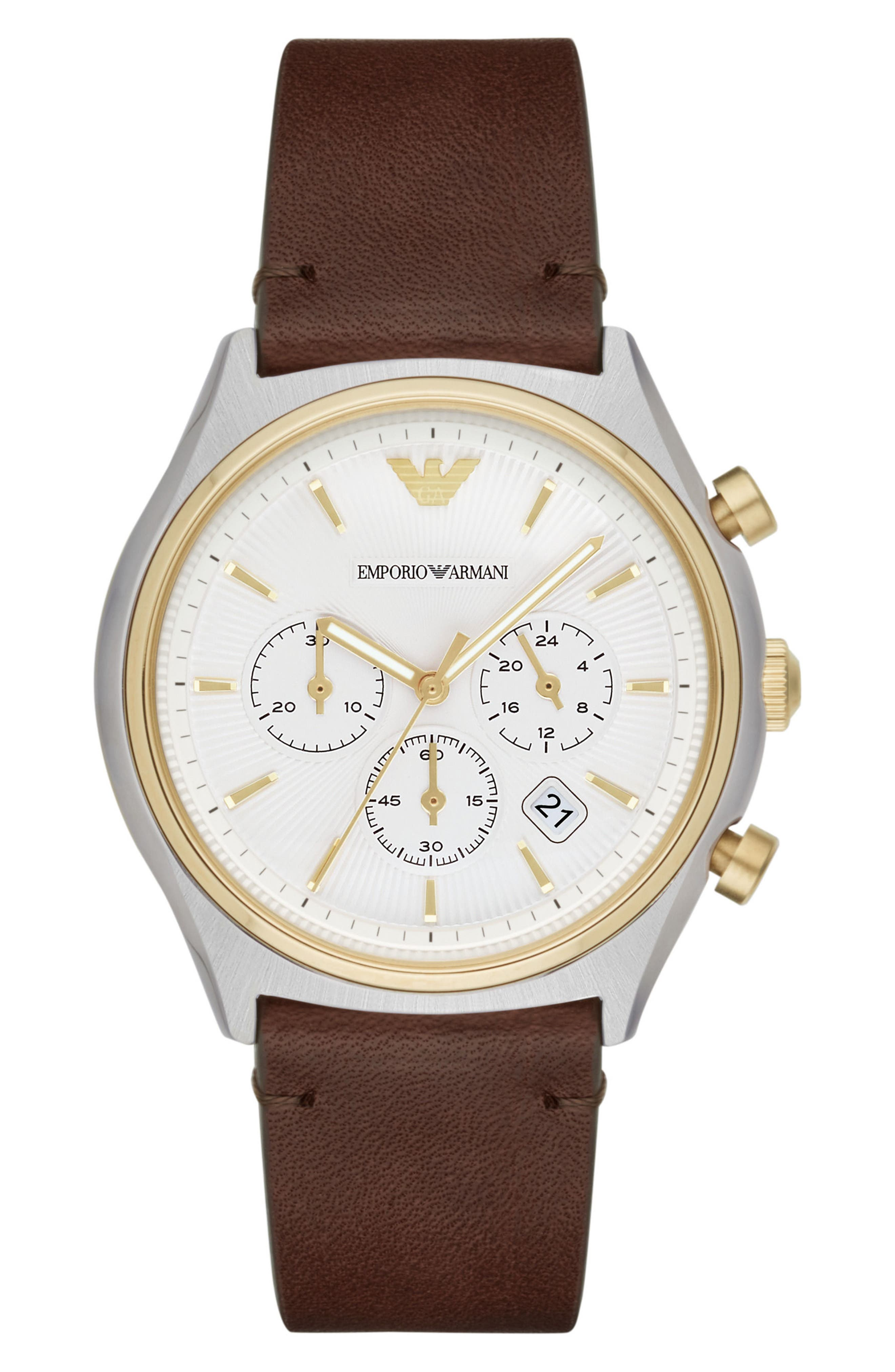 Alternate Image 1 Selected - Emporio Armani Chronograph Leather Strap Watch, 44mm