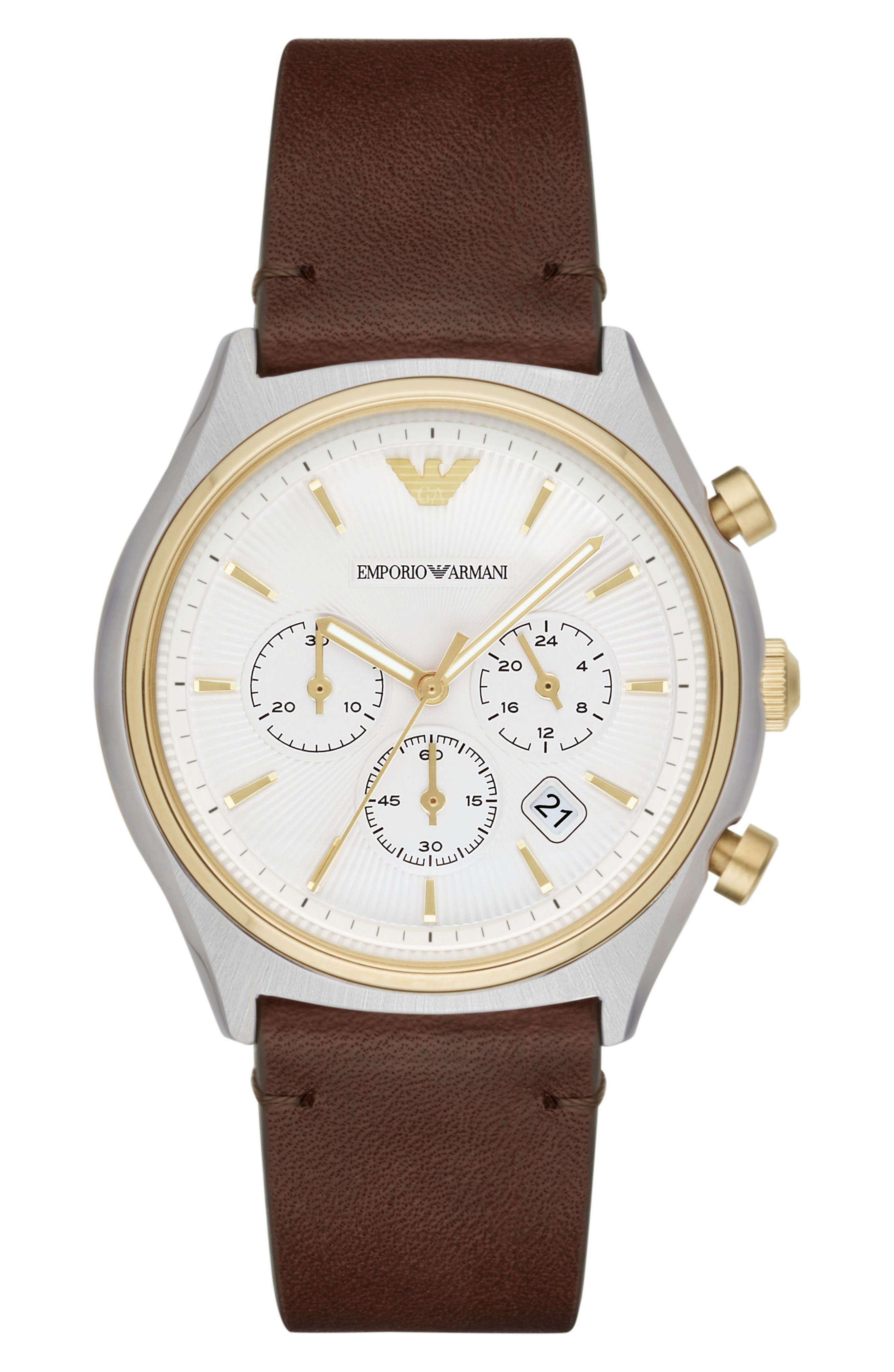 Emporio Armani Chronograph Leather Strap Watch, 44mm