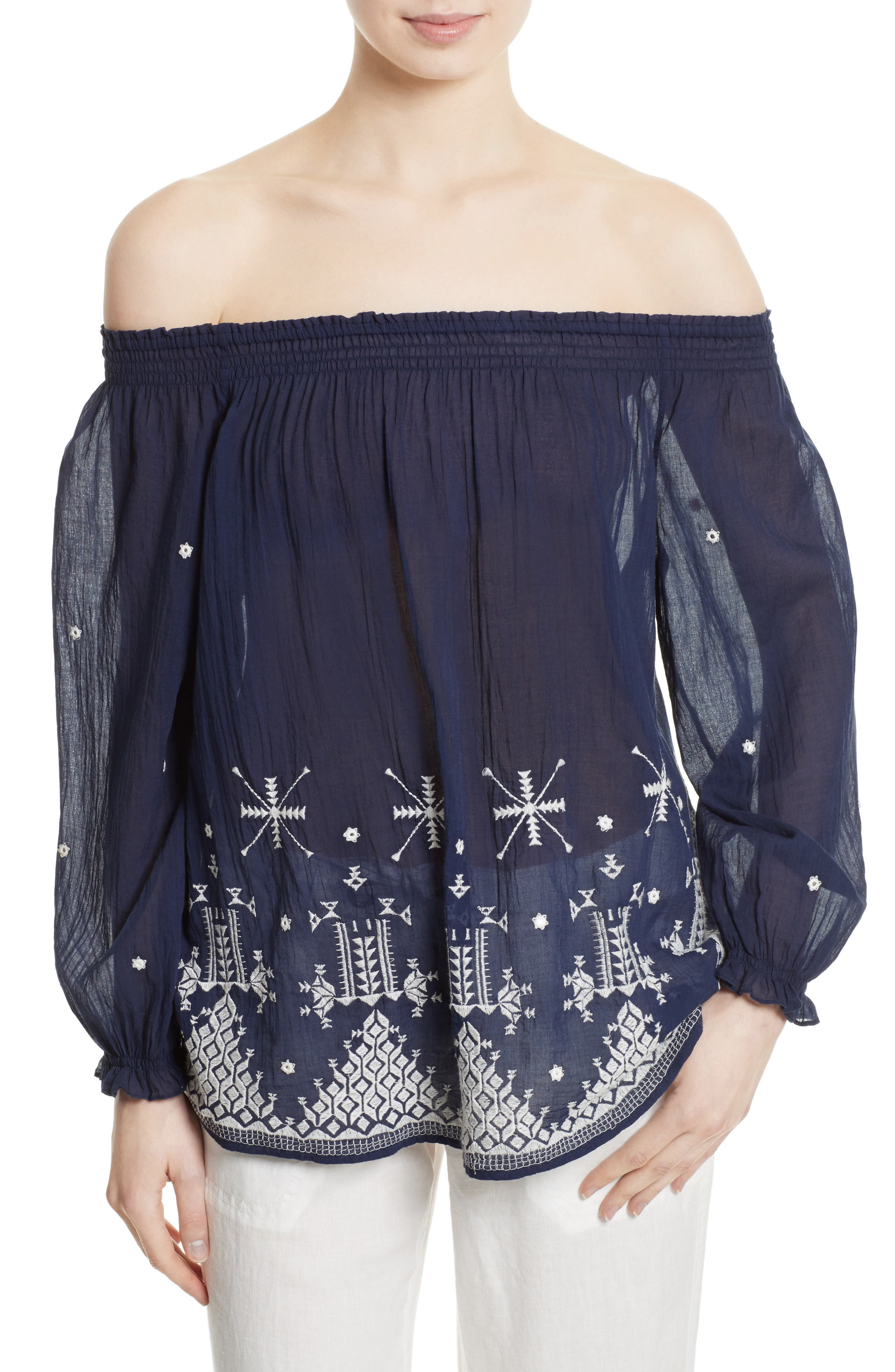 JOIE Kistine Embroidered Off the Shoulder Blouse