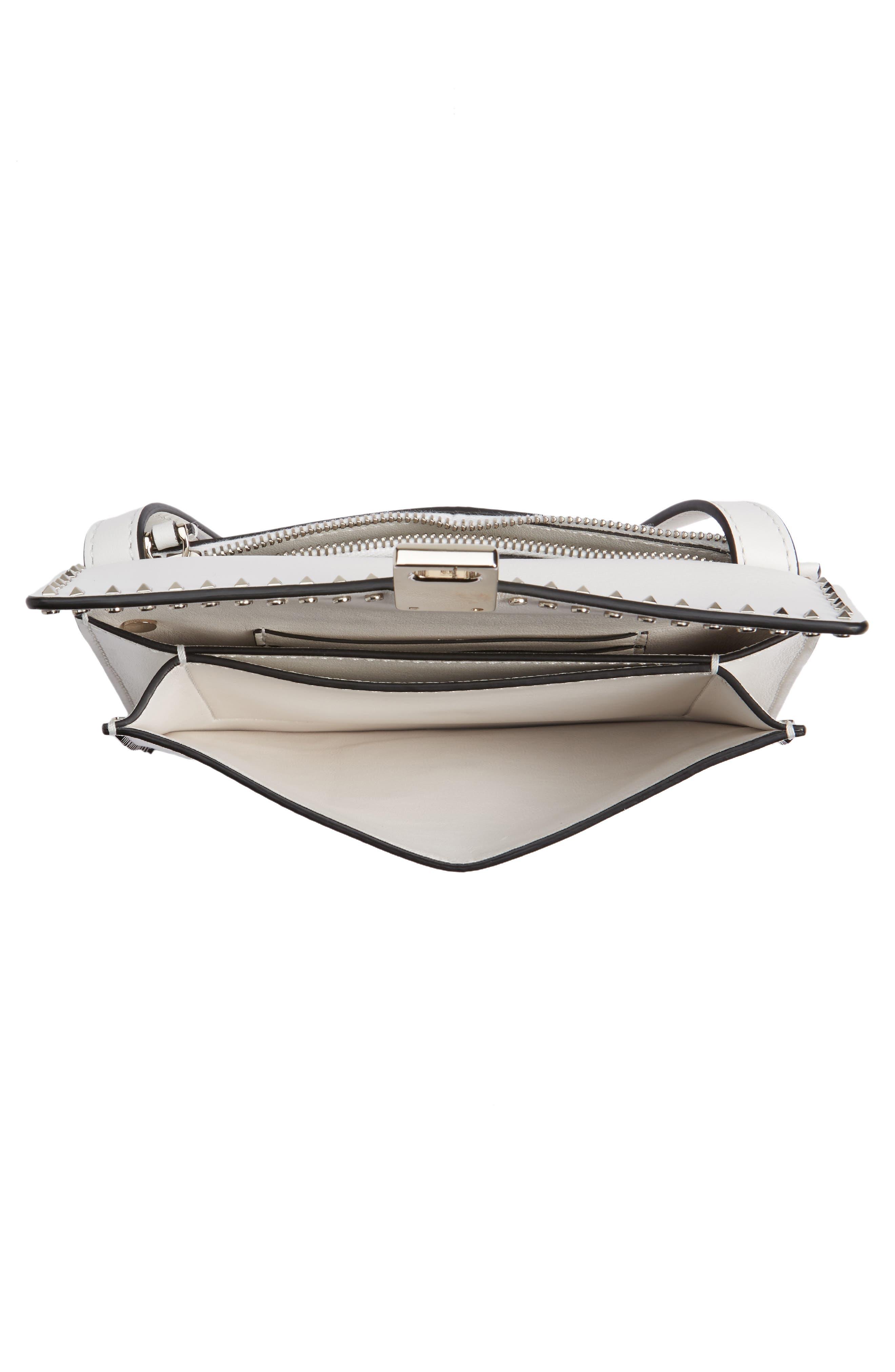 Small Rockstud Leather Shoulder Bag,                             Alternate thumbnail 3, color,                             Bianco
