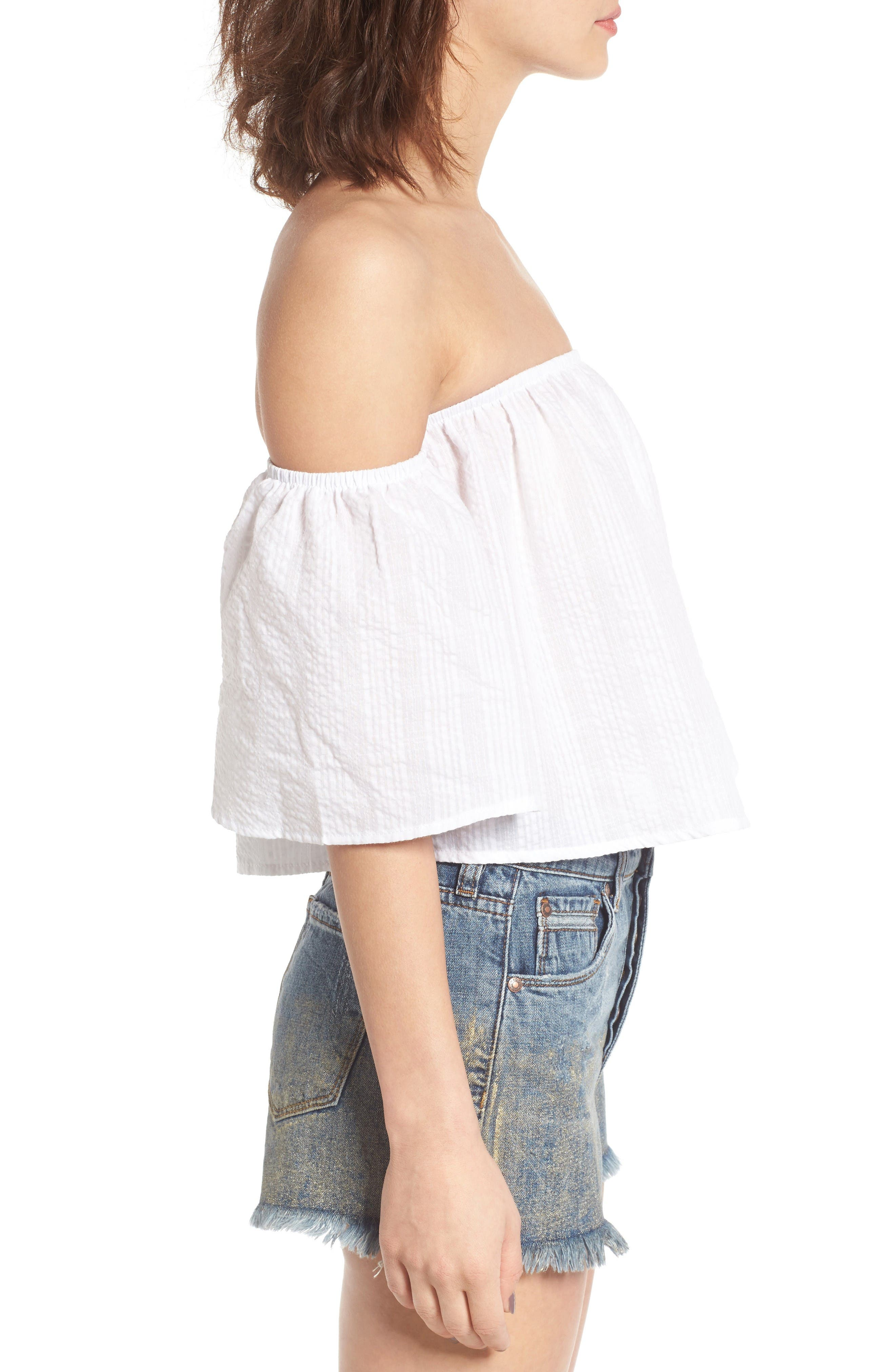 Off the Shoulder Crop Top,                             Alternate thumbnail 3, color,                             White