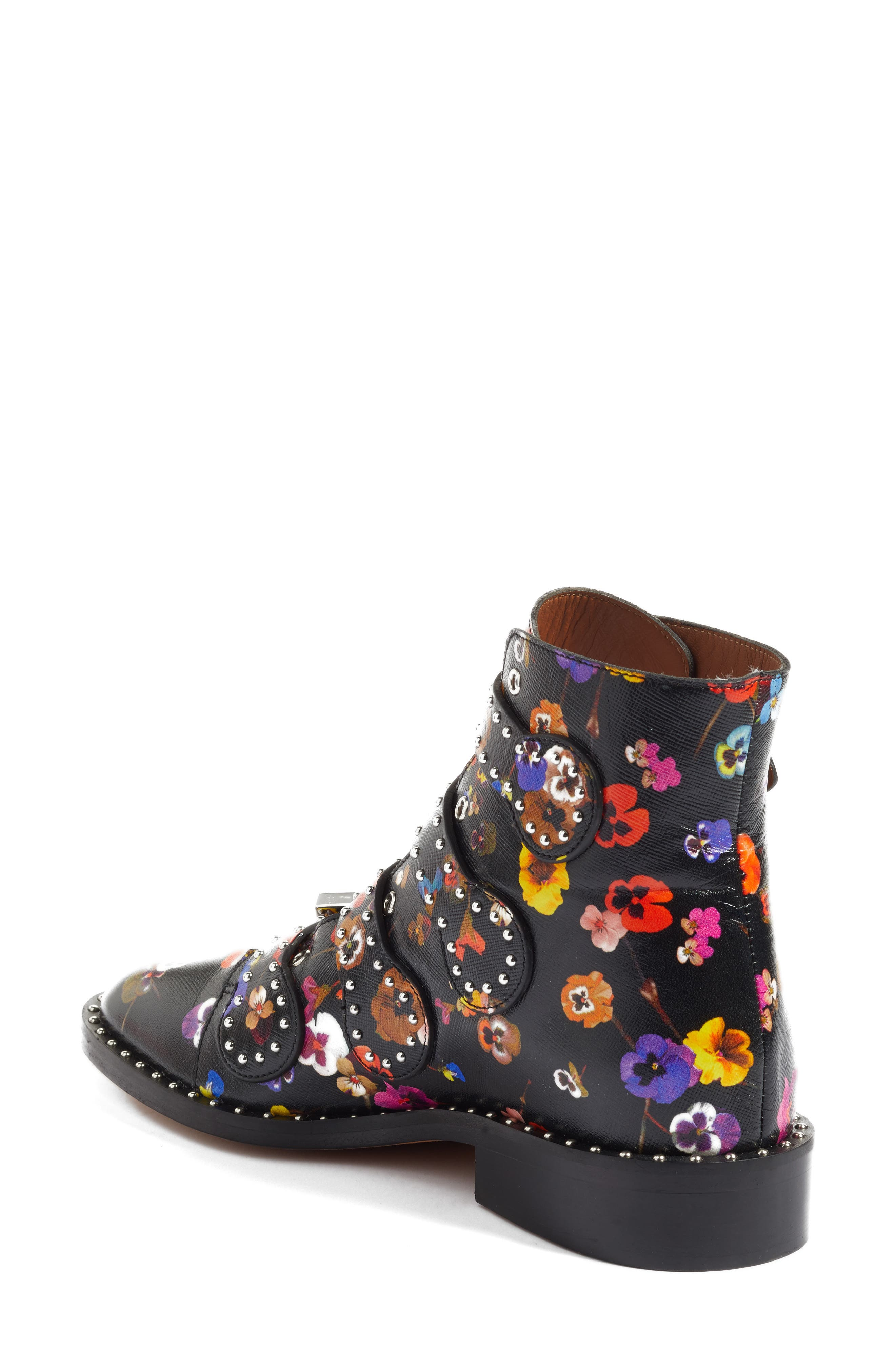 Prue Ankle Boot,                             Alternate thumbnail 3, color,                             Black Floral