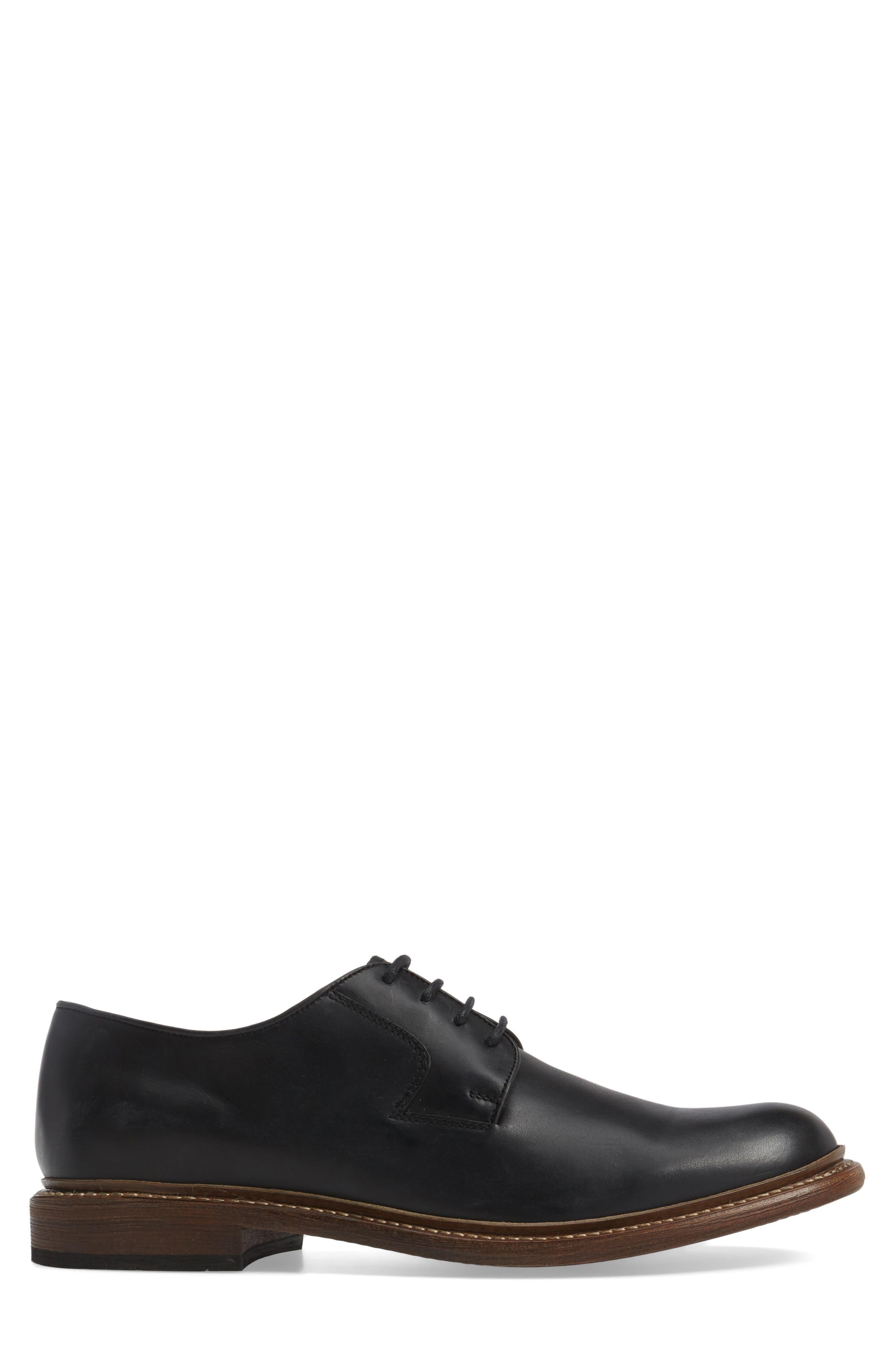 1000 Mile Luke Plain Toe Derby,                             Alternate thumbnail 3, color,                             Black Leather