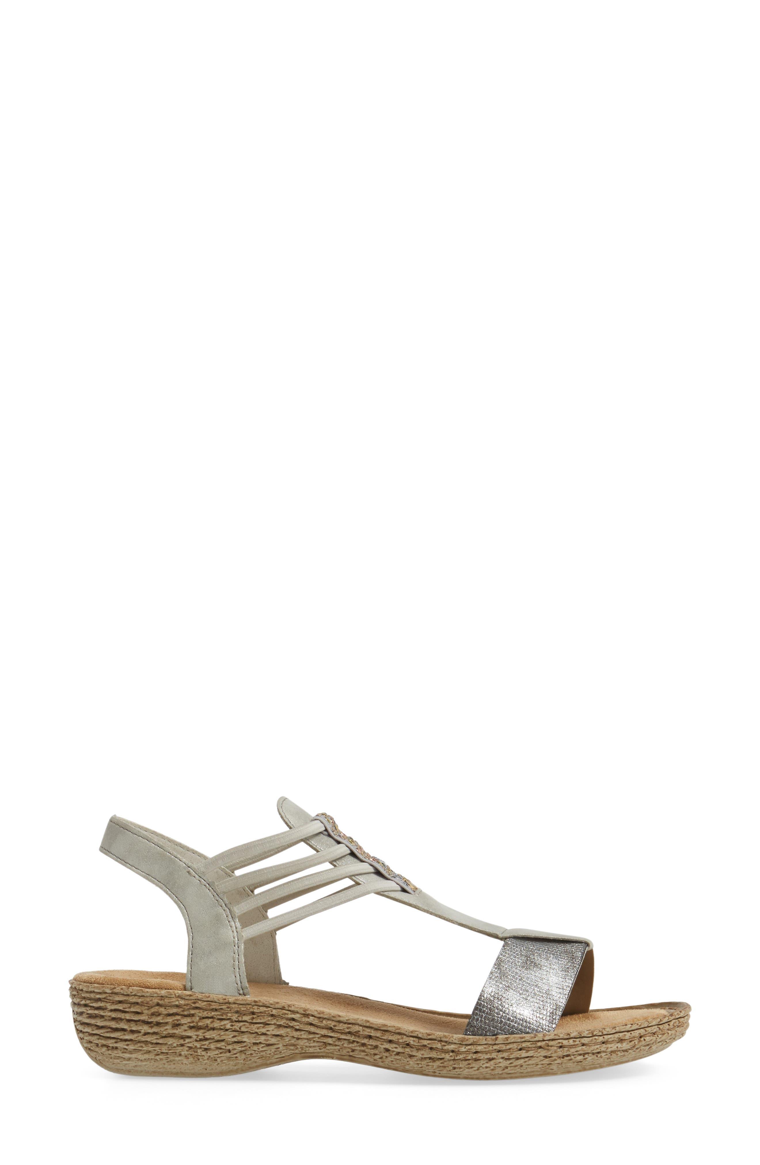 Regina T-Strap Sandal,                             Alternate thumbnail 3, color,                             Grey Fabric
