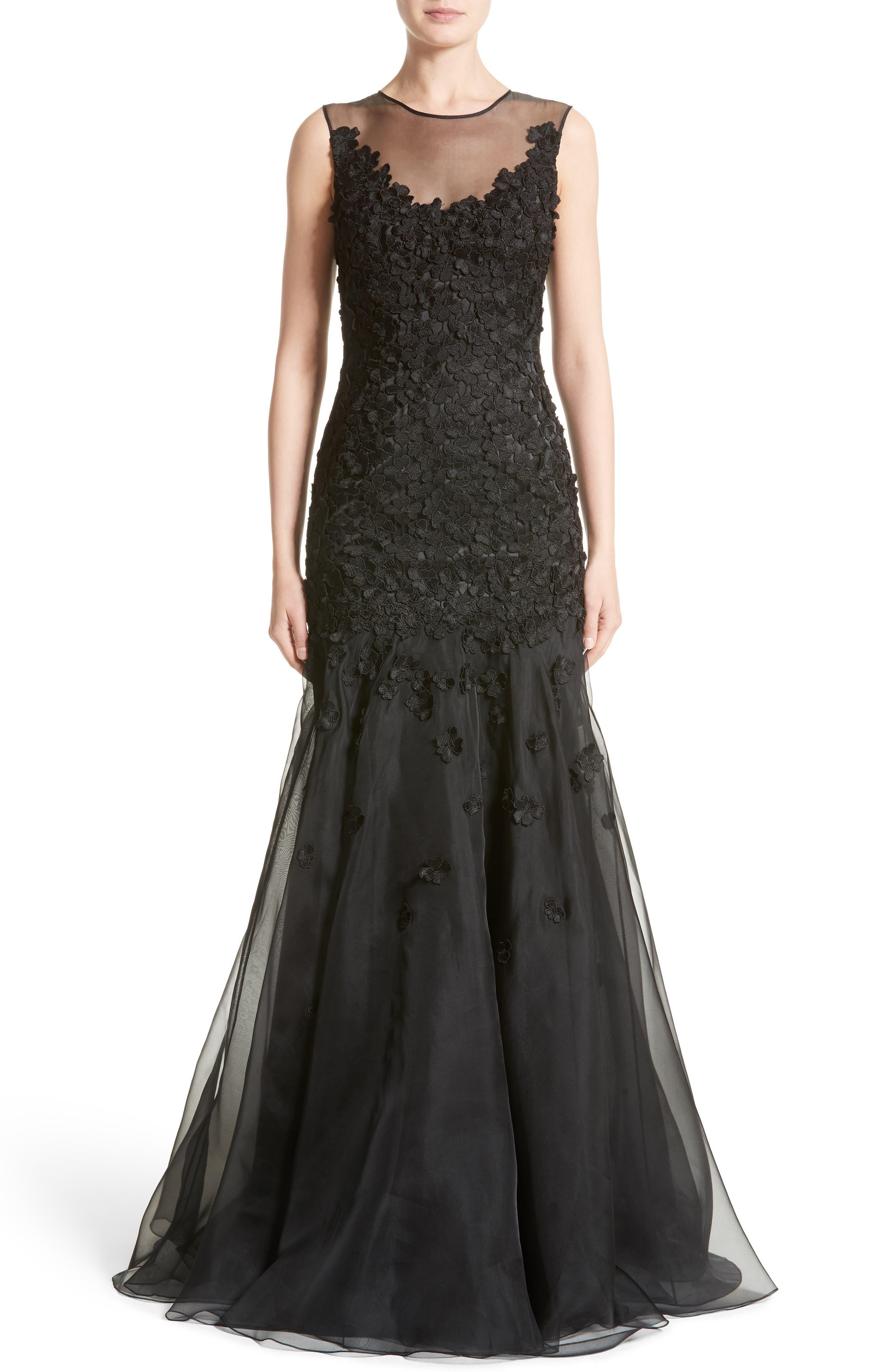 Floral Appliqué Trumpet Gown,                         Main,                         color, Black