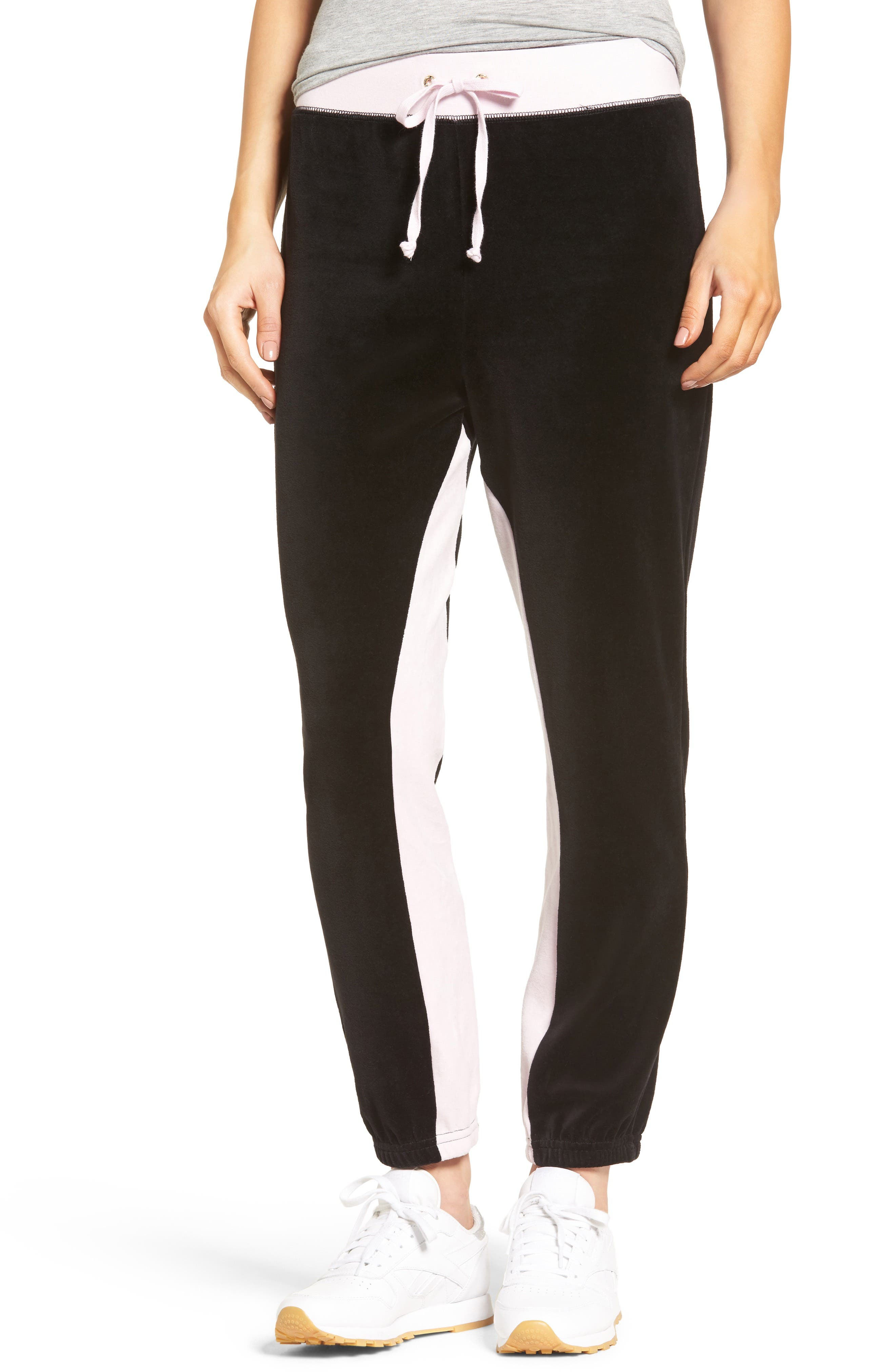 Silverlake Colorblock Velour Track Pants,                         Main,                         color, Pitch Black/ Pink