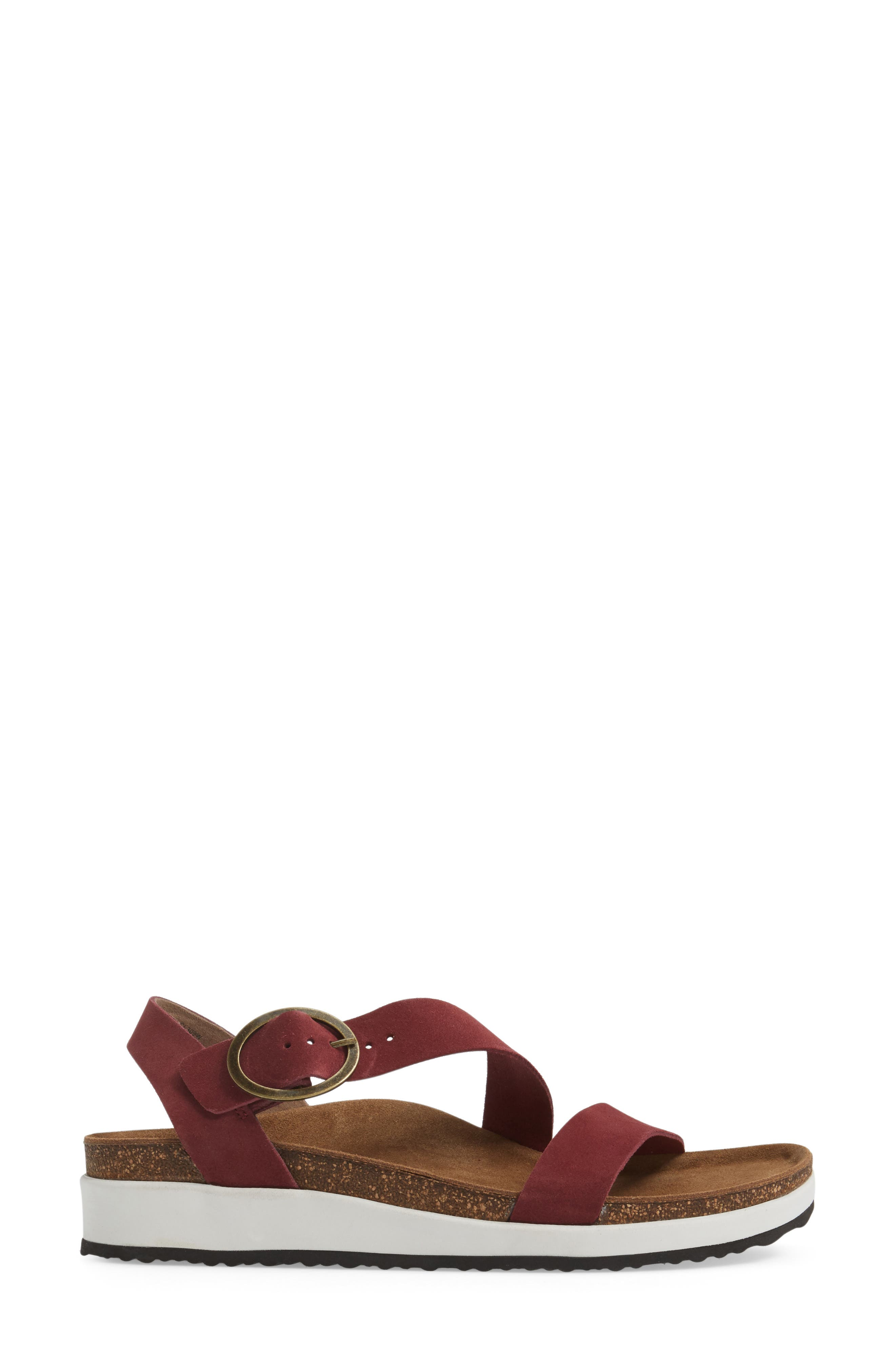 Adrianna Sandal,                             Alternate thumbnail 3, color,                             Maroon Suede