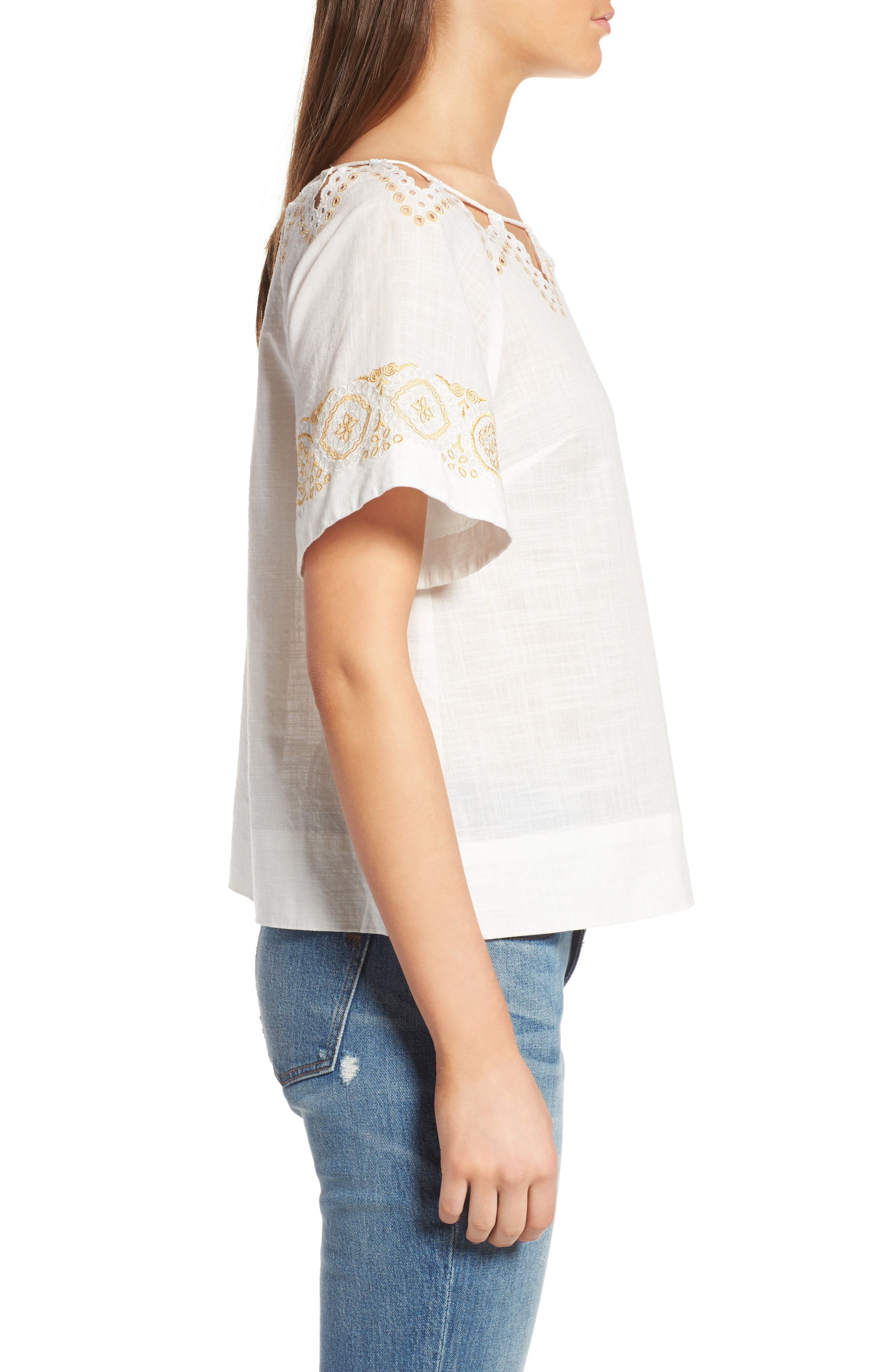 Alternate Image 4  - Madewell Eyelet Peekaboo Top