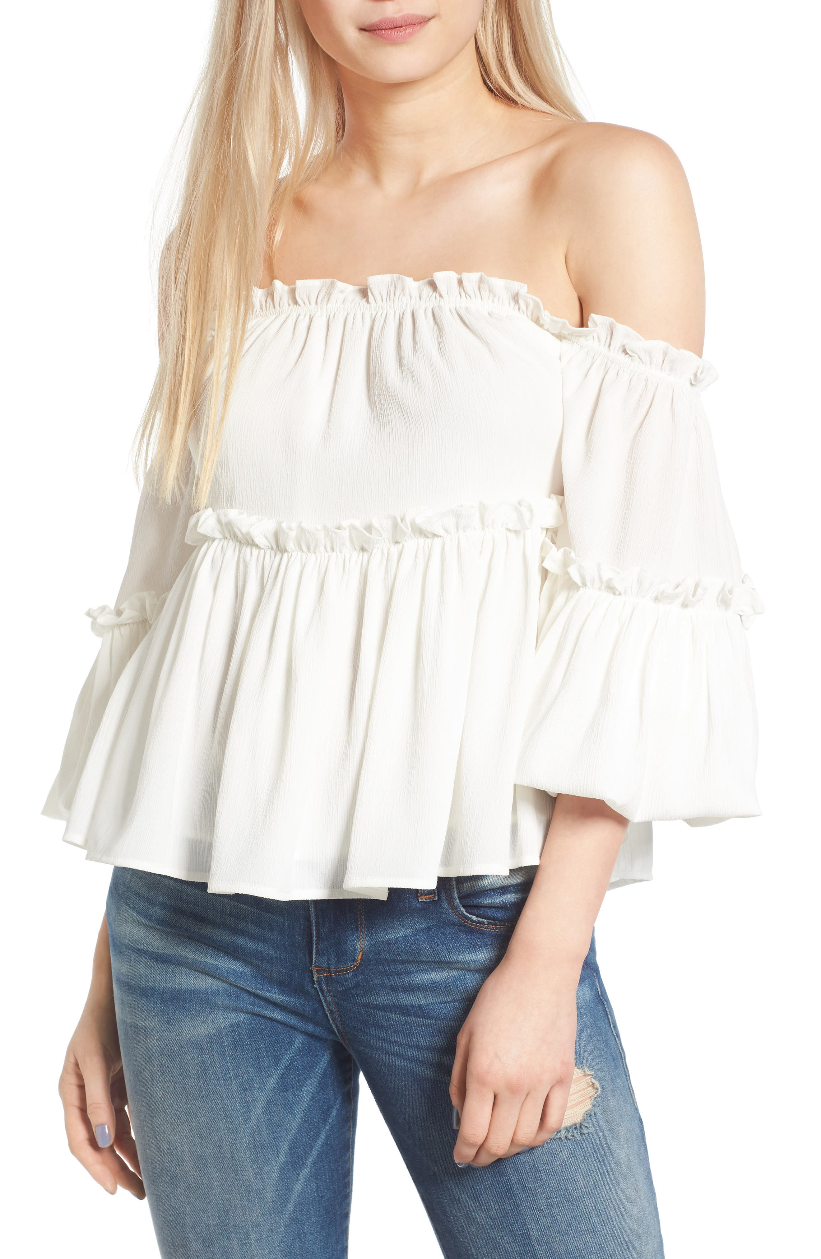 Main Image - J.O.A. Ruffle Off the Shoulder Top