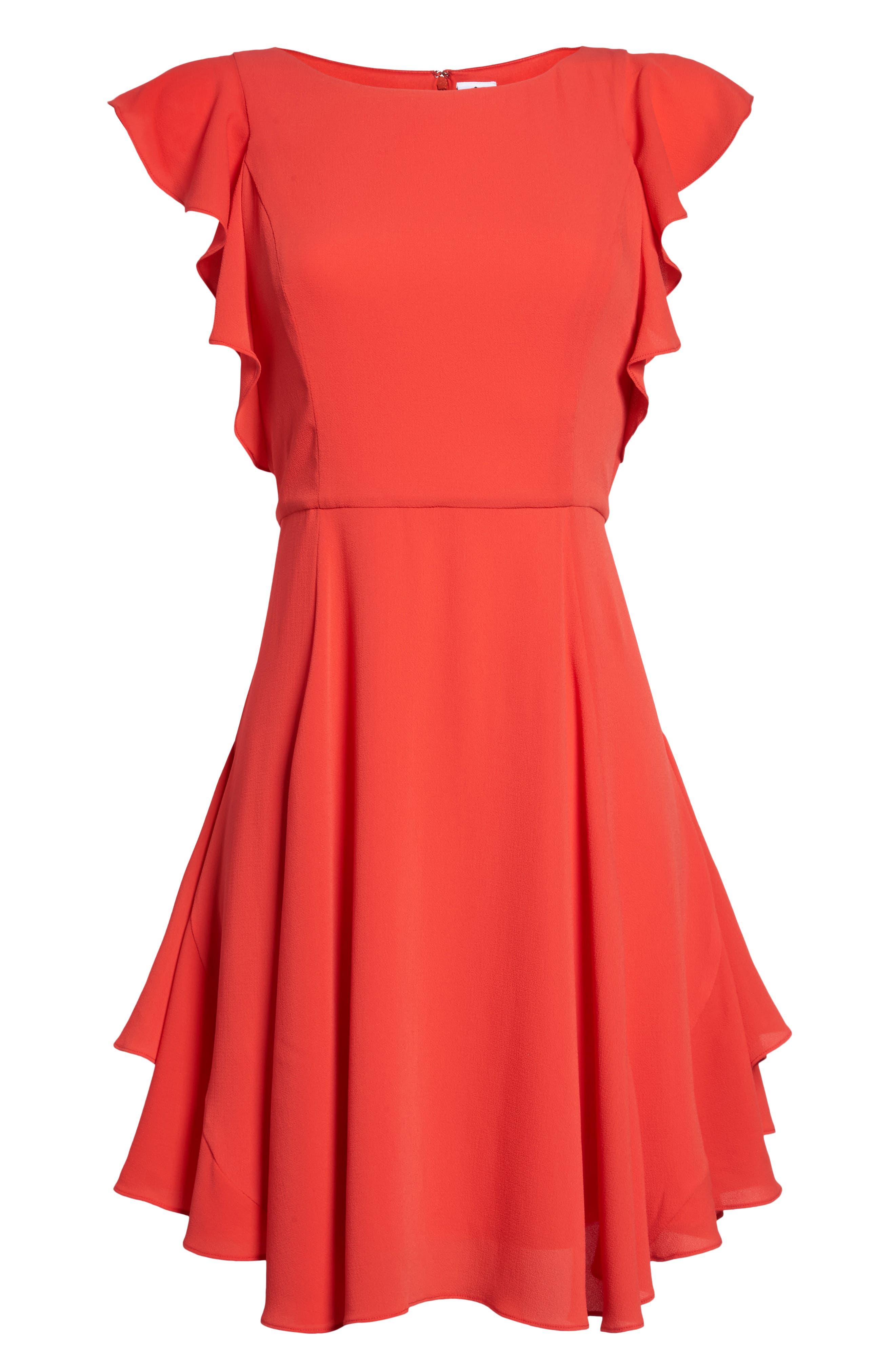 Ruffle Fit & Flare Dress,                             Alternate thumbnail 7, color,                             Raspberry