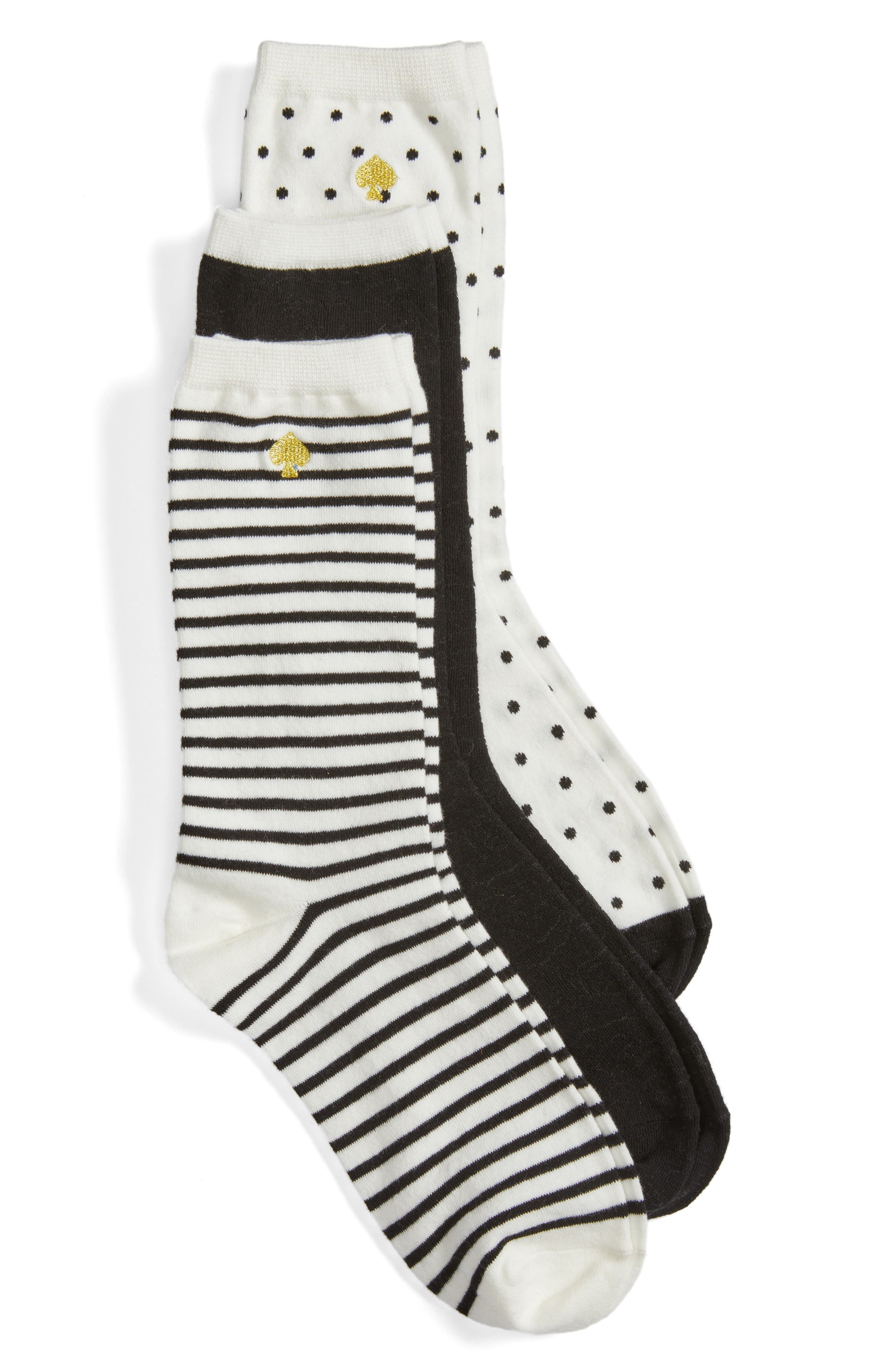 Main Image - kate spade new york assorted 3-pack crew socks