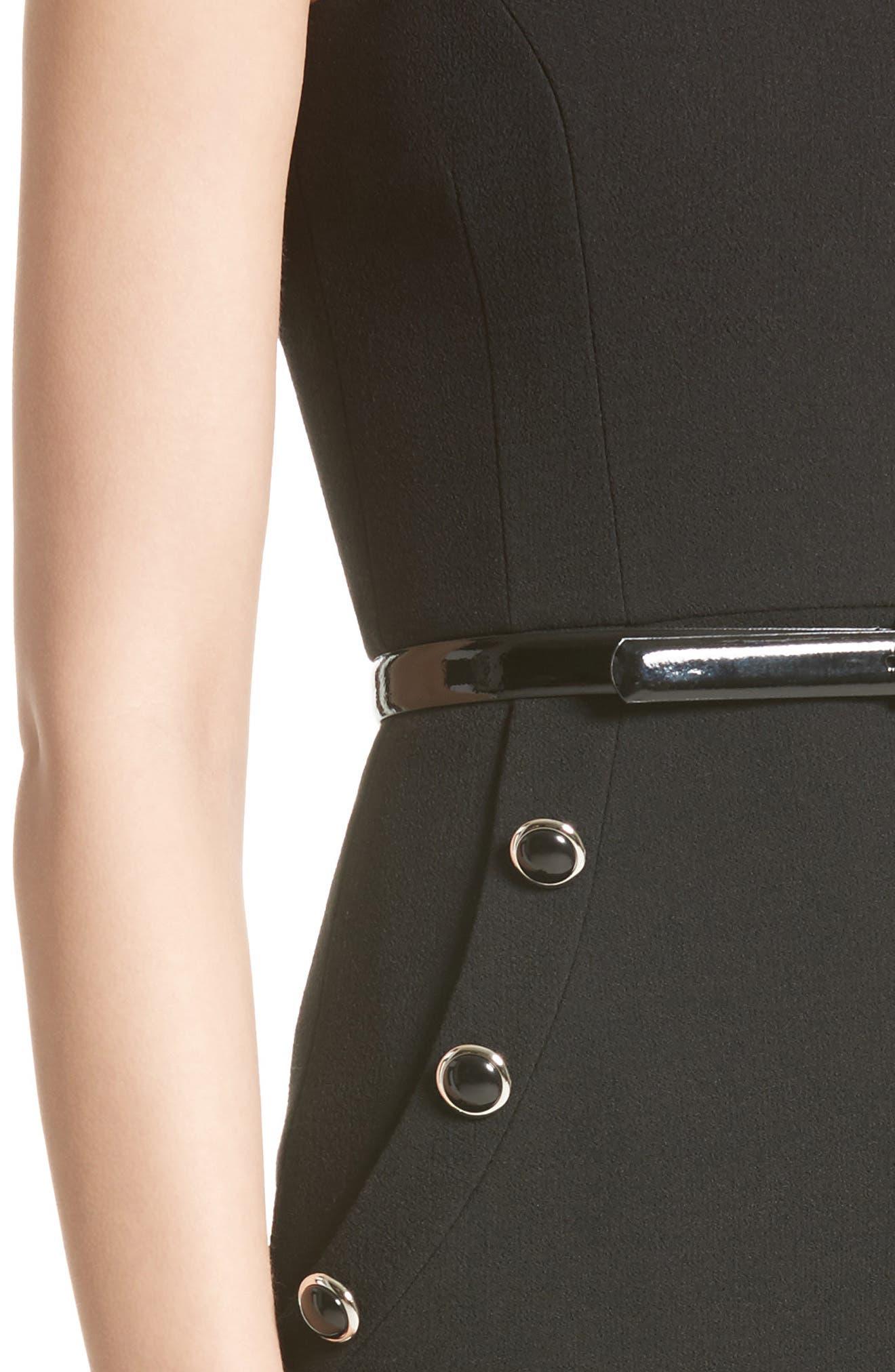 Belted Stretch Bouclé Crepe Sheath Dress,                             Alternate thumbnail 7, color,                             Black