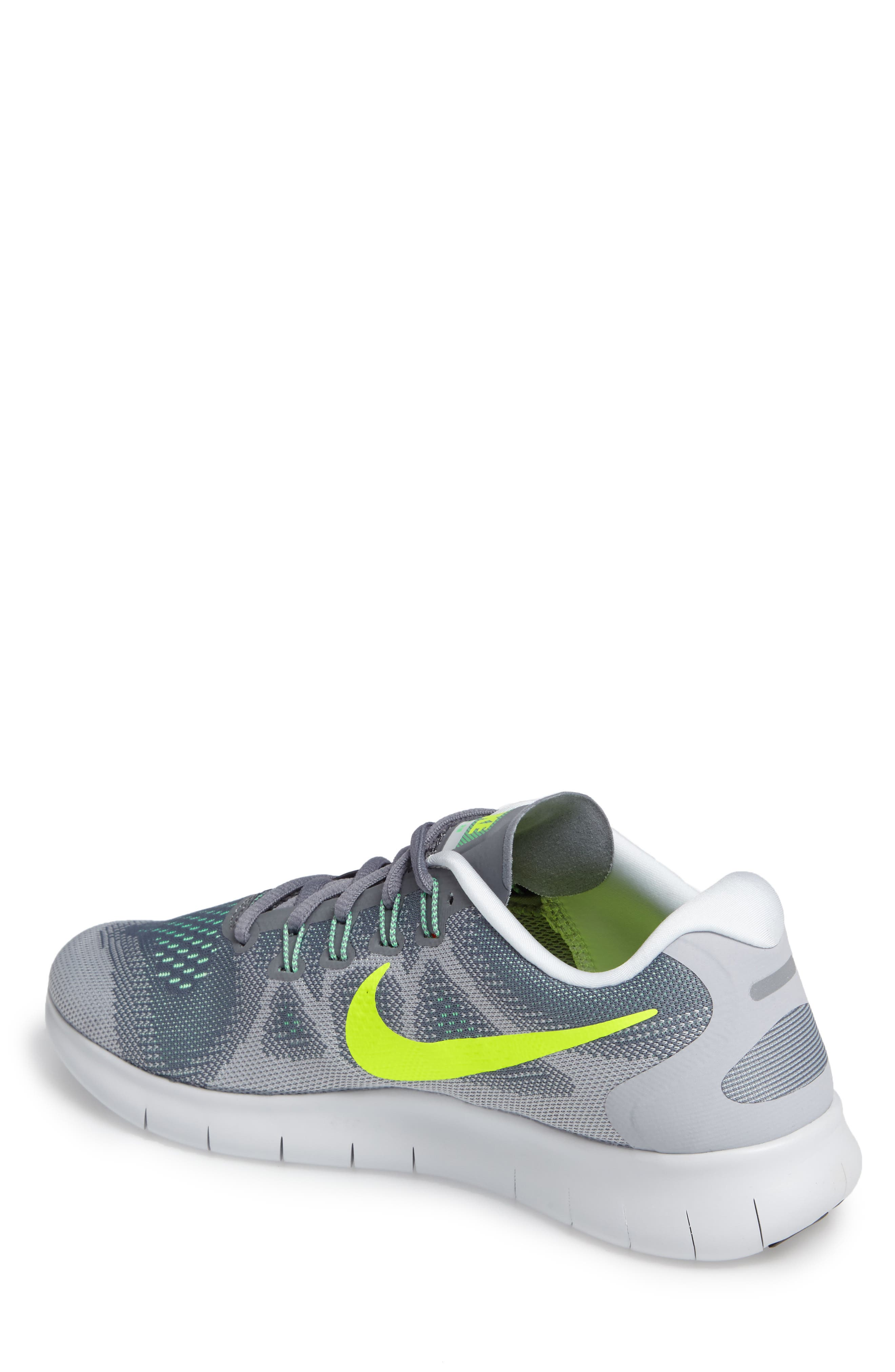Free Run 2017 Running Shoe,                             Alternate thumbnail 2, color,                             Grey/ Volt/ Grey/ Green