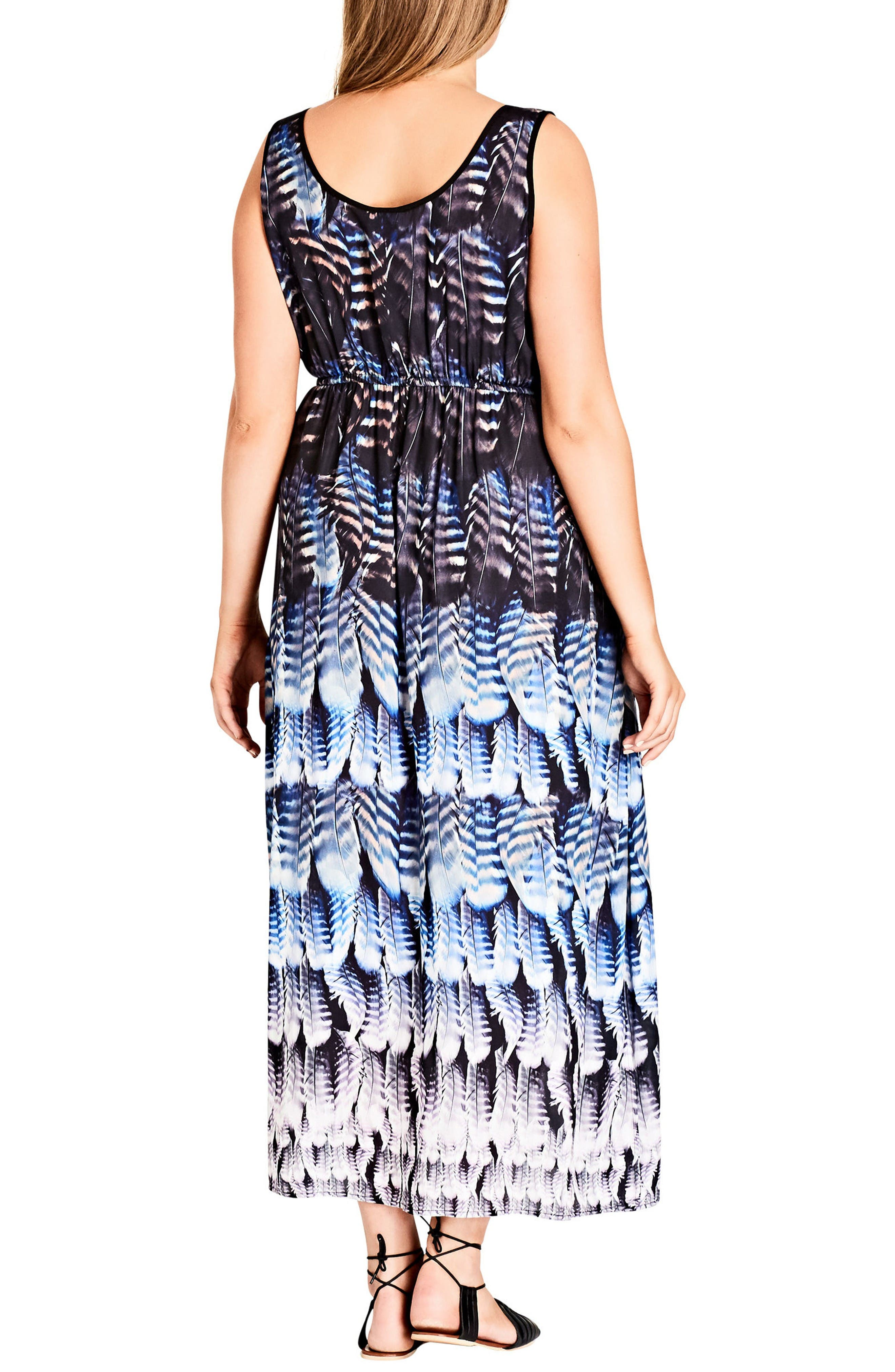 Alternate Image 2  - City Chic Summer Party Feather Print Maxi Dress (Plus Size)