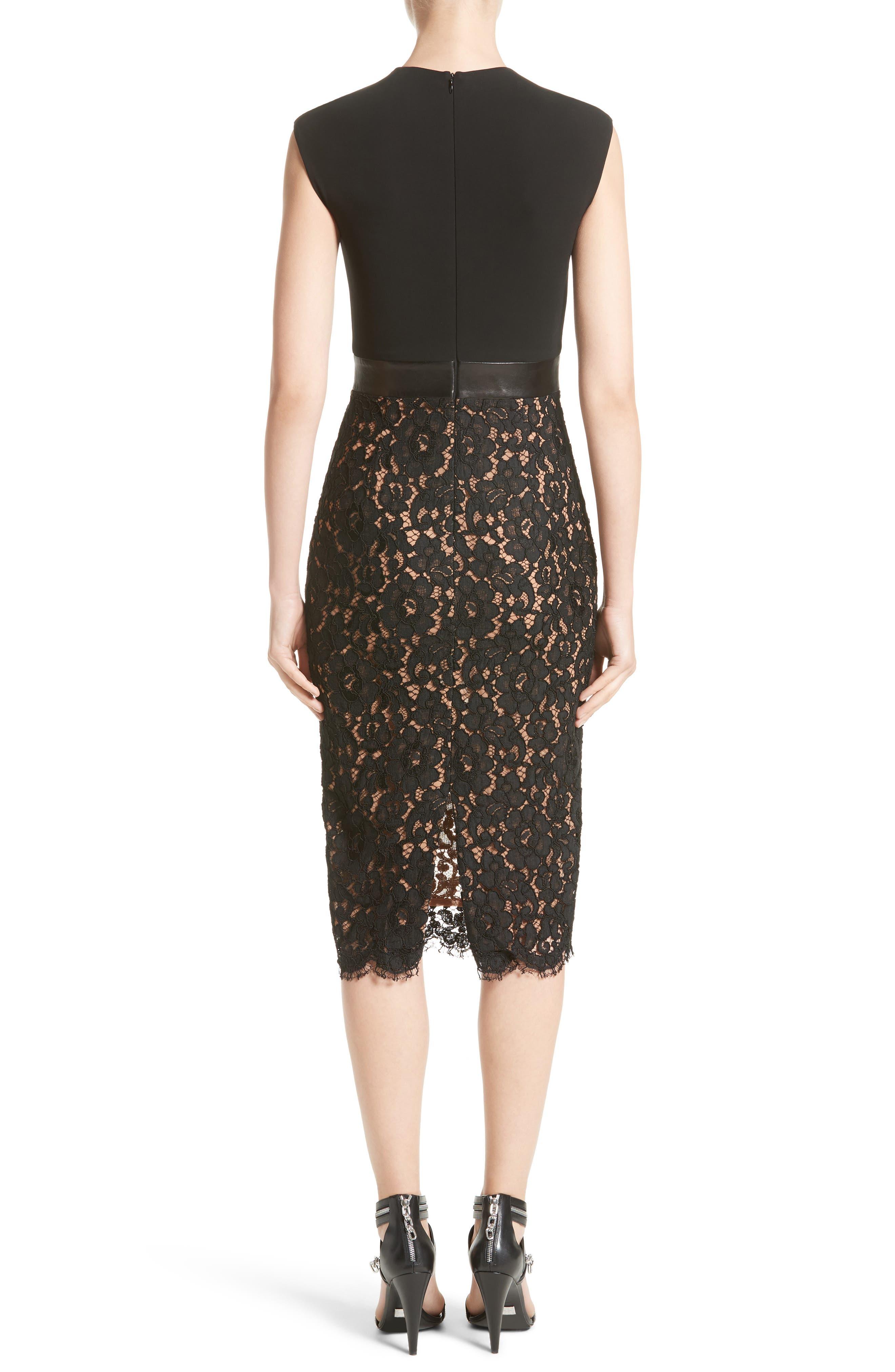 Alternate Image 2  - Michael Kors Leather Trim Jersey & Lace Sheath Dress