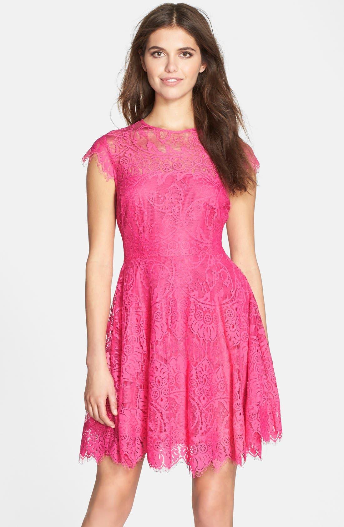 'Rhianna' Illusion Yoke Lace Fit & Flare Dress,                             Main thumbnail 1, color,                             Fuchsia/ Rose