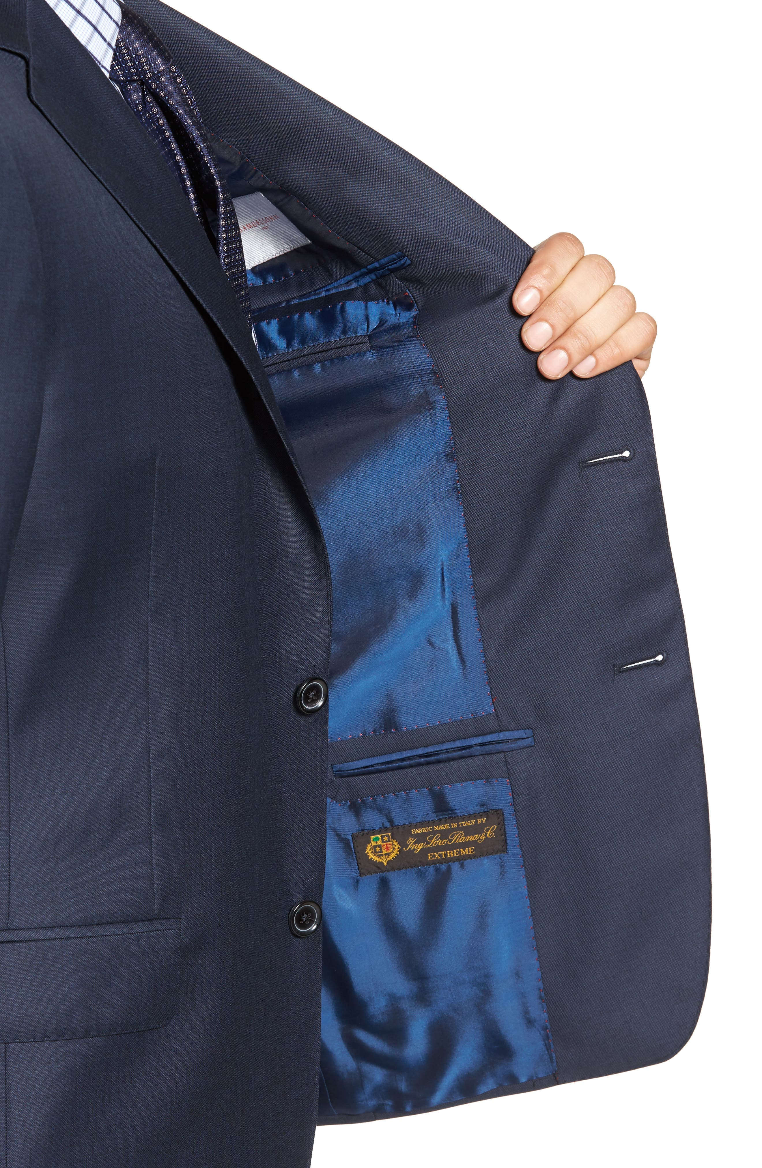 Classic Fit Sharkskin Wool Suit,                             Alternate thumbnail 4, color,                             Navy