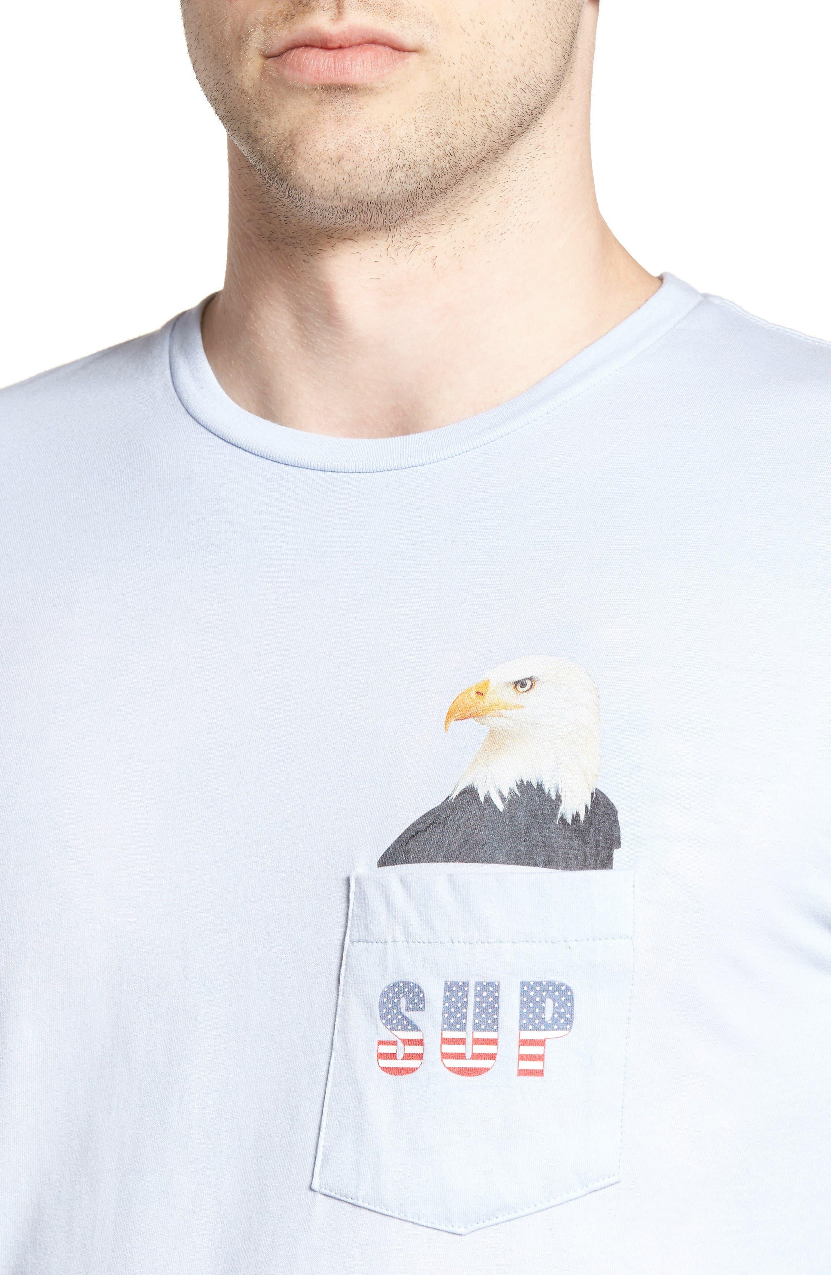 SUP Eagle Pocket T-Shirt,                             Alternate thumbnail 4, color,                             Powder Blue