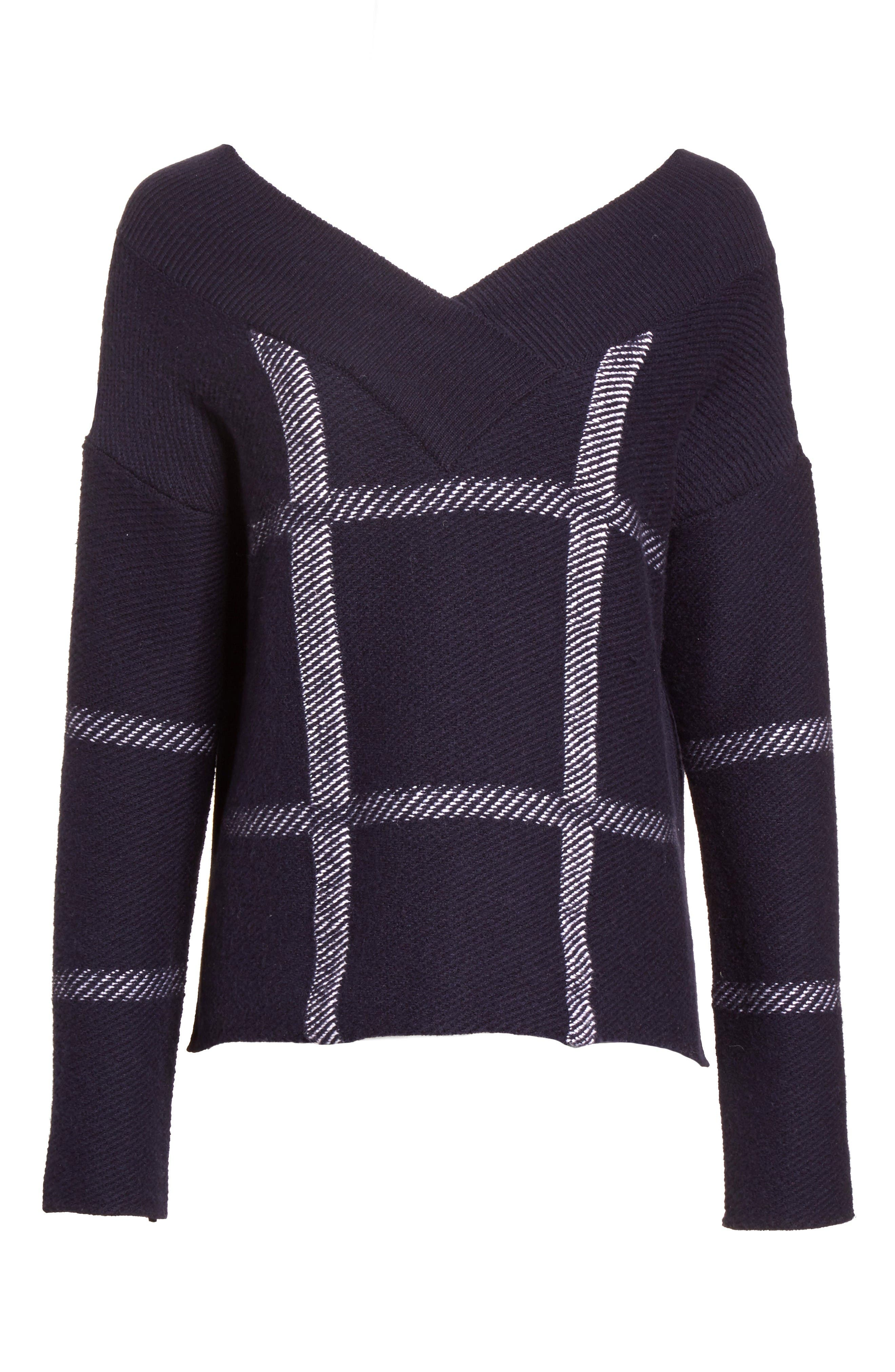 Windowpane Wool & Cashmere Sweater,                             Alternate thumbnail 4, color,                             Navy Multi