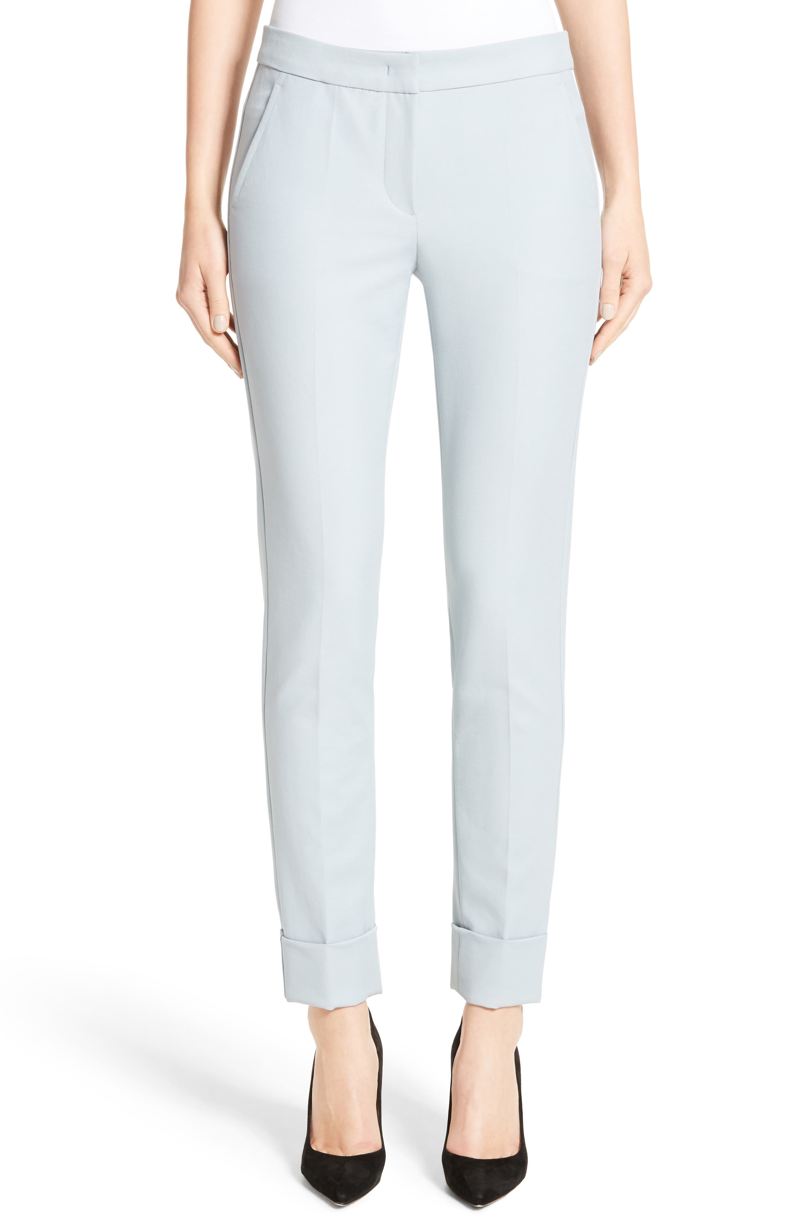 Armani Collezion Tech Cotton Cuff Pants,                             Main thumbnail 1, color,                             Cloud