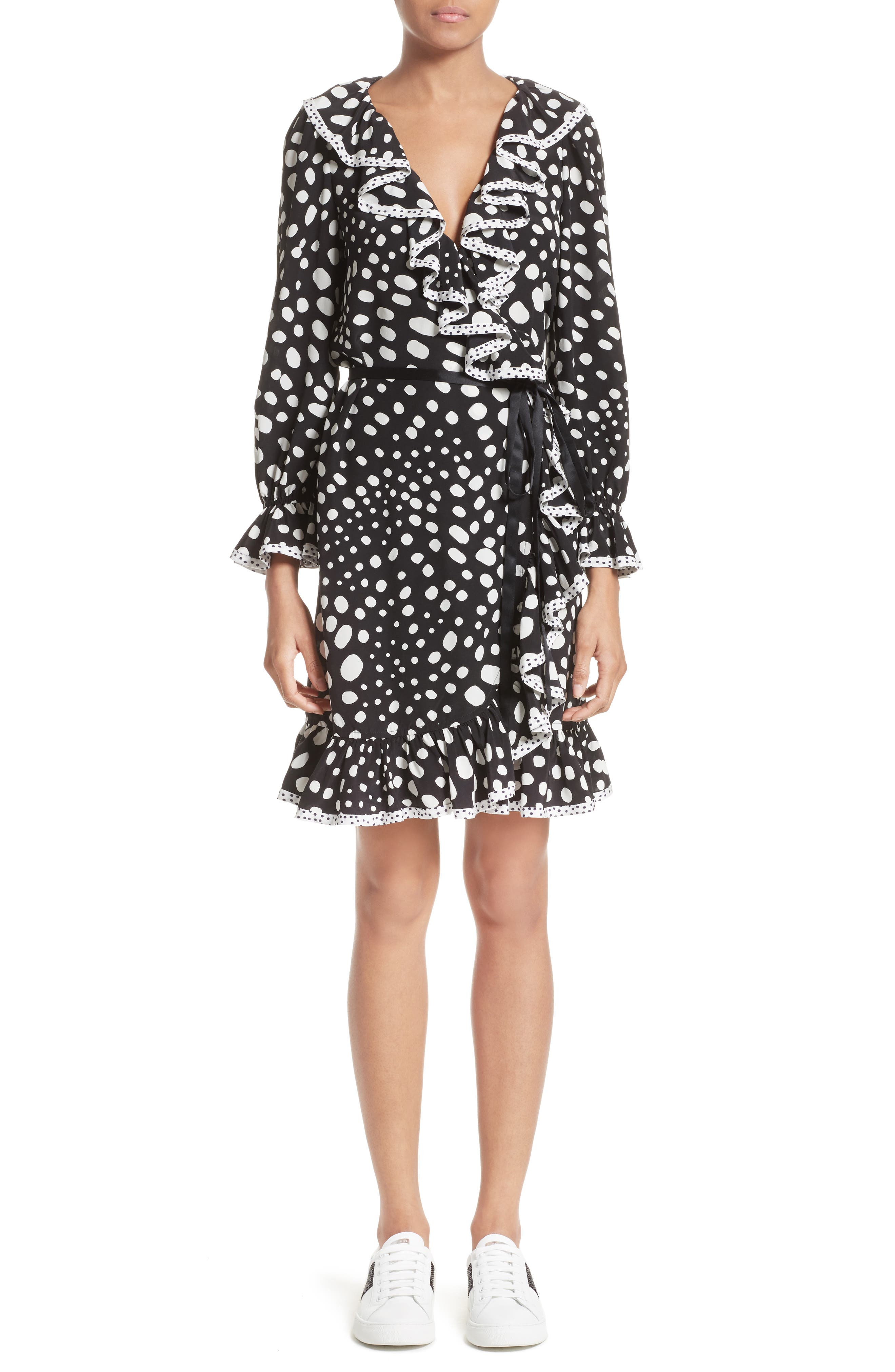 Polka Dot Ruffle Silk Wrap Dress,                             Main thumbnail 1, color,                             Black/ White