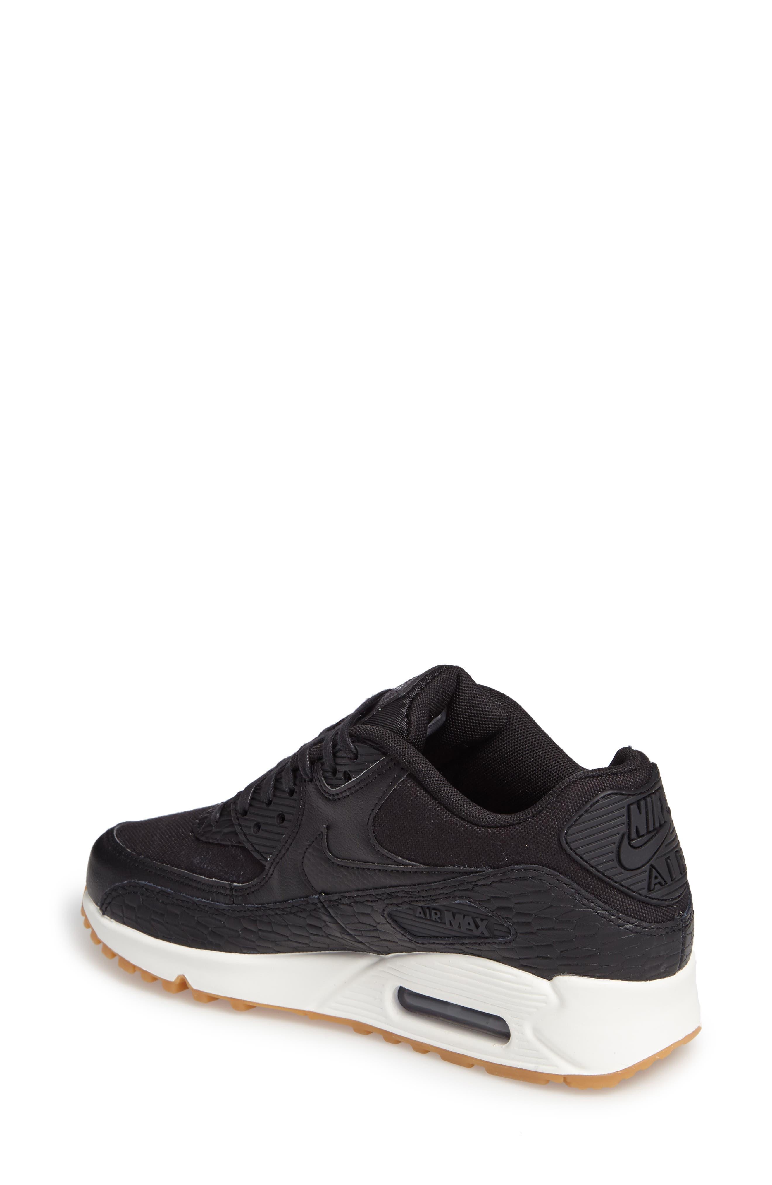 Air Max 90 Premium Leather Sneaker,                             Alternate thumbnail 2, color,                             Black/ Dark Grey/ Ivory