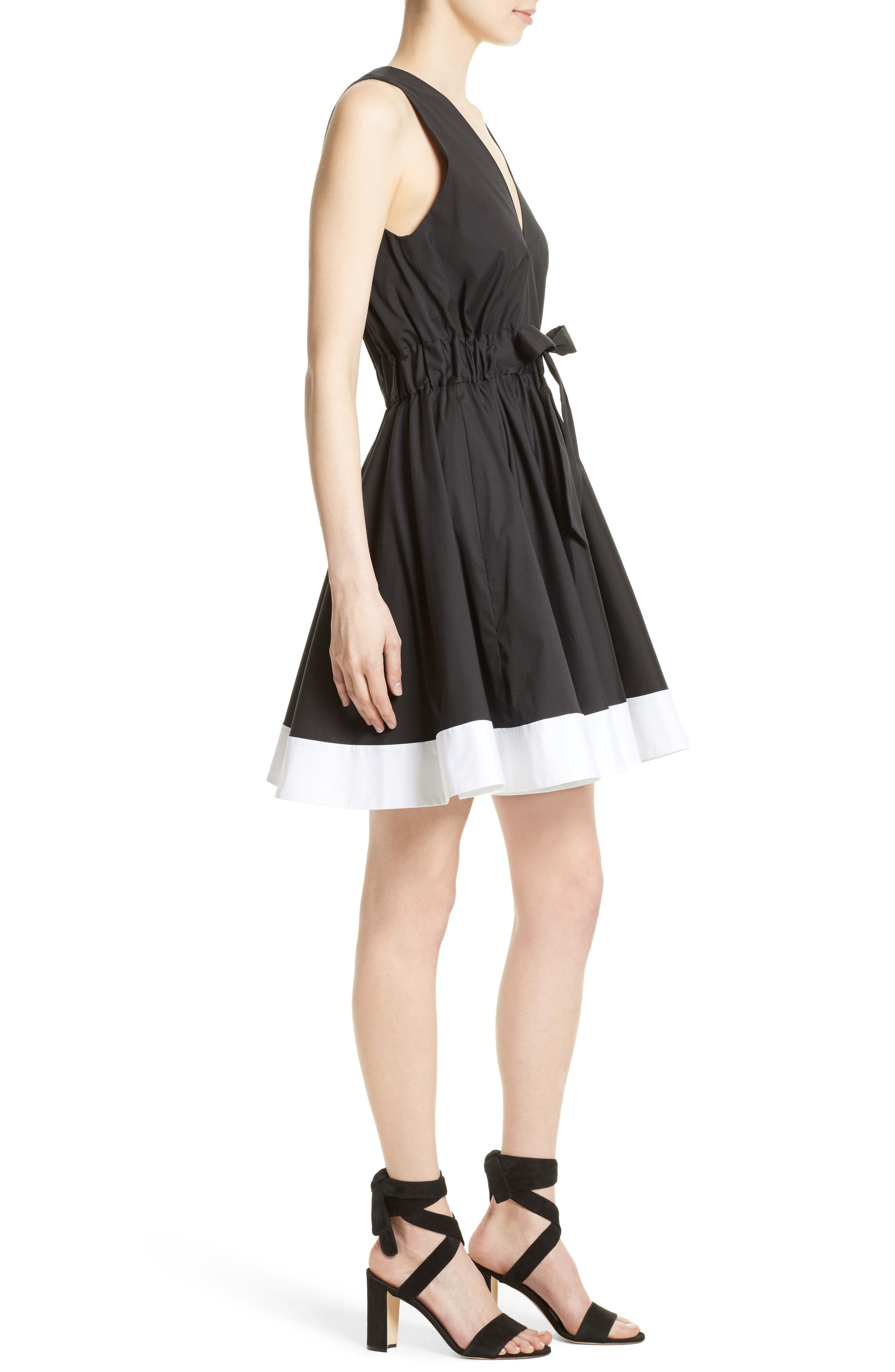 Lola Stretch Poplin Skater Dress,                             Alternate thumbnail 3, color,                             Black/ White