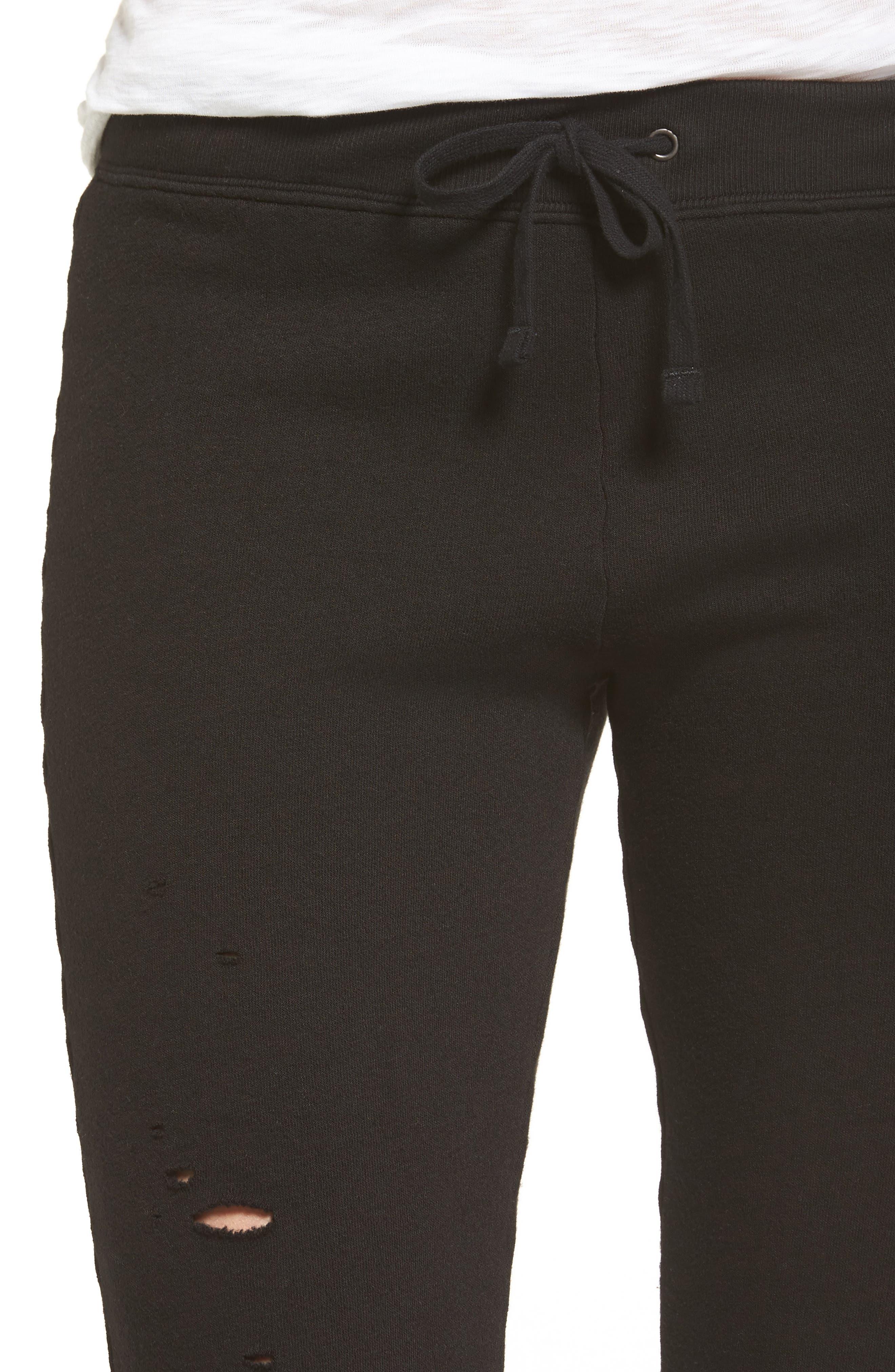 Betsee Distressed Jogger Pants,                             Alternate thumbnail 4, color,                             Black
