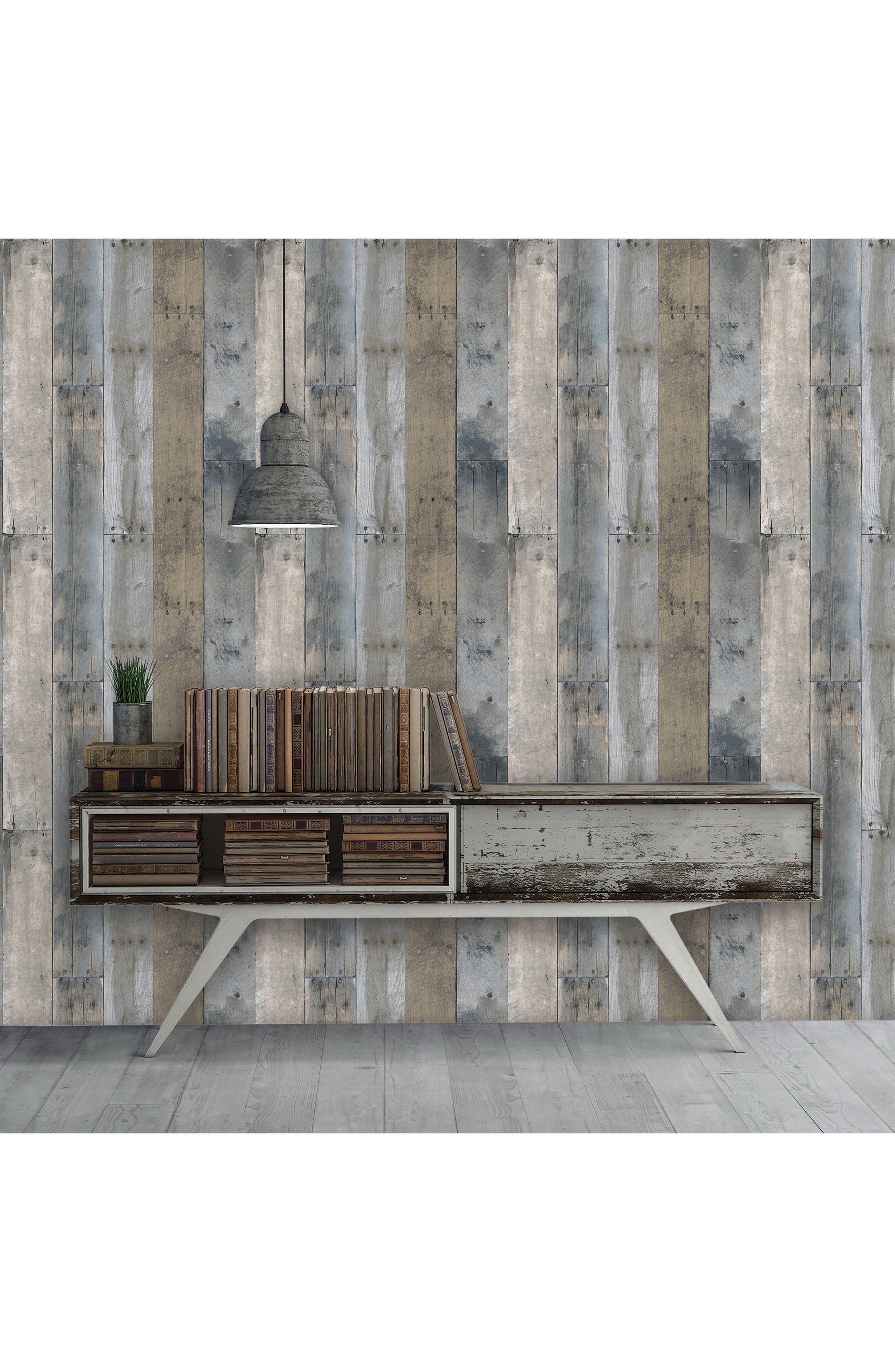 Alternate Image 2  - Tempaper Repurposed Wood Self-Adhesive Vinyl Wallpaper