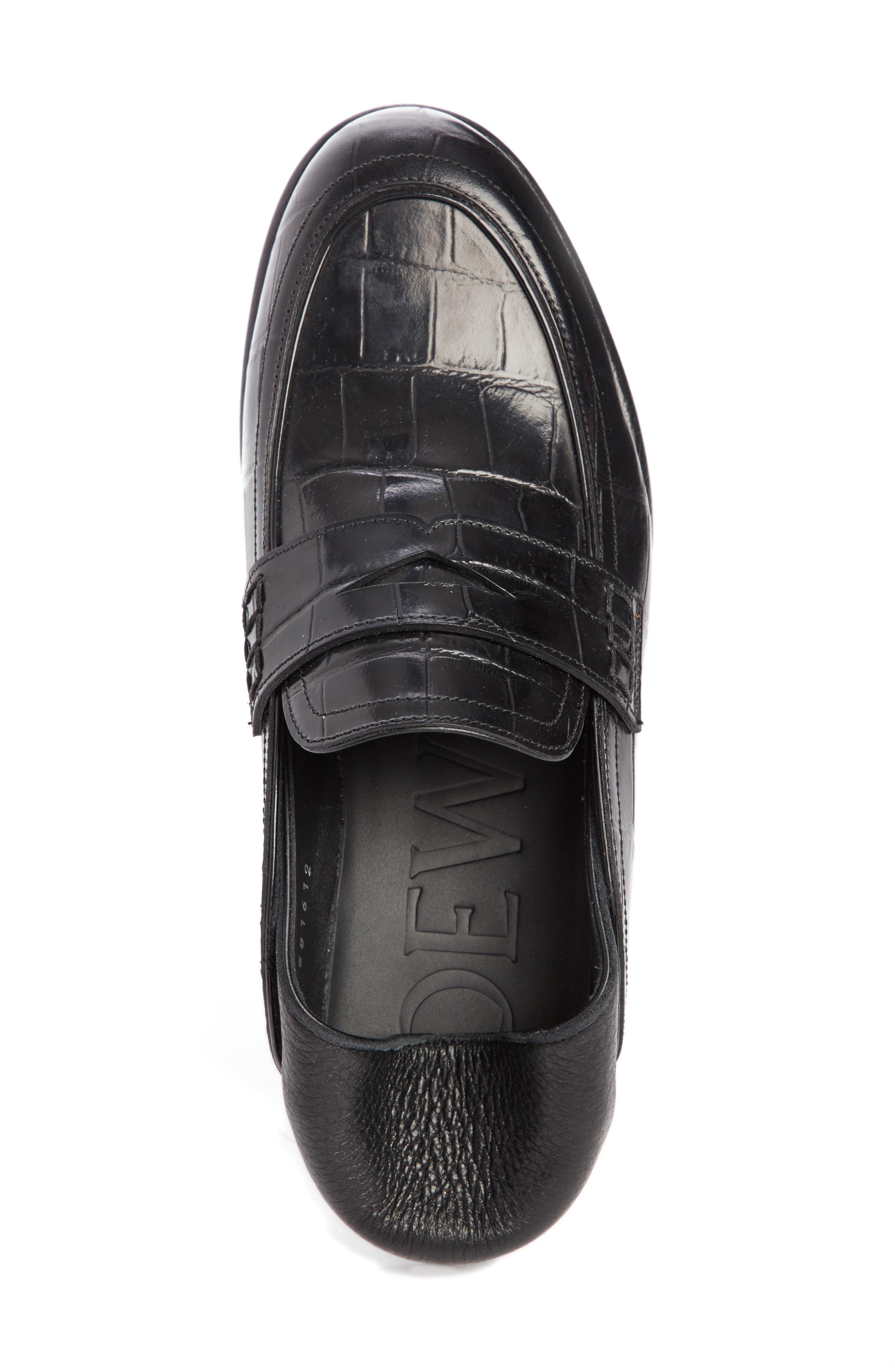 Croc Embossed Convertible Loafer,                             Alternate thumbnail 5, color,                             Black