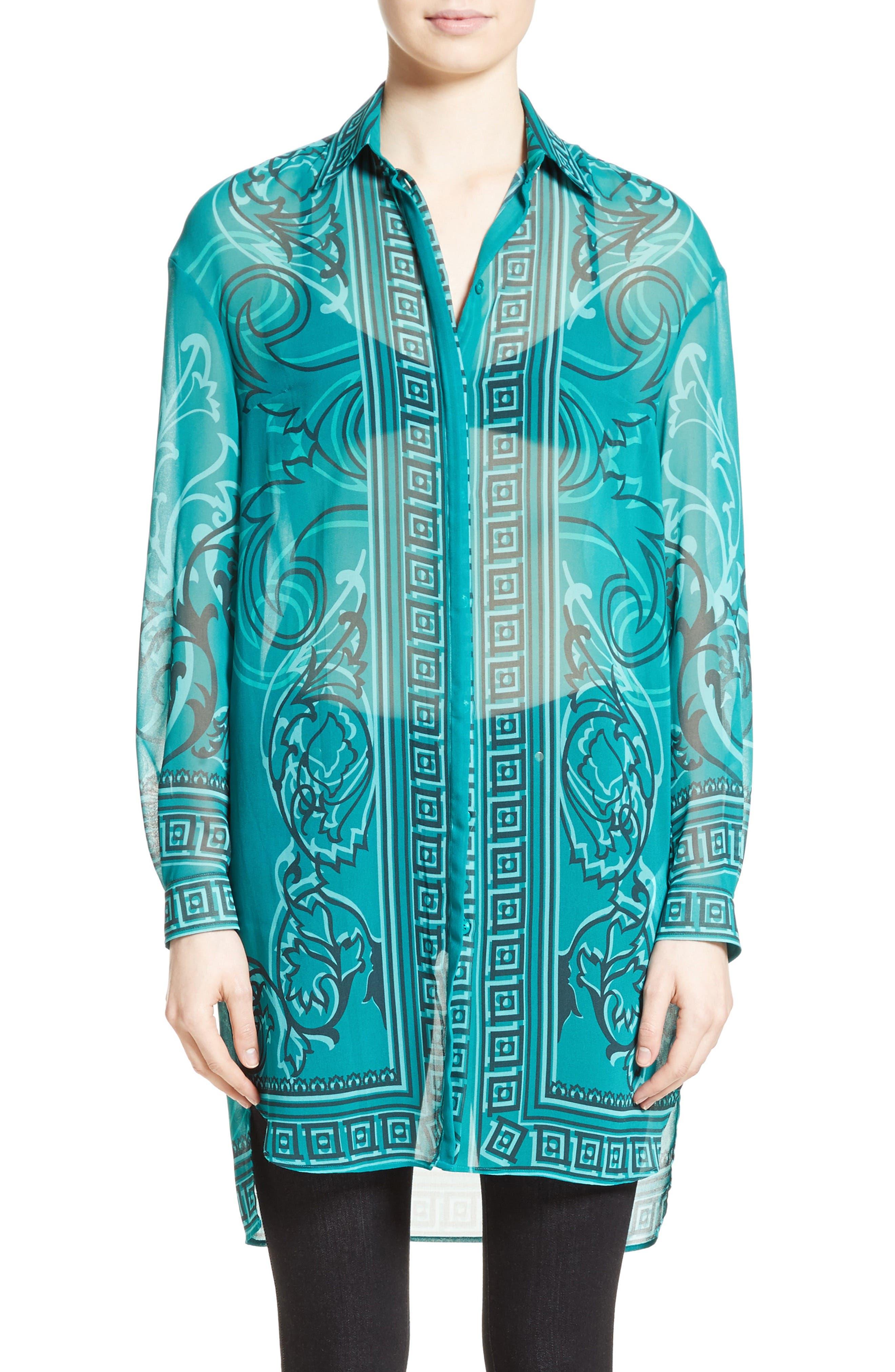 Baroque Print Tunic,                         Main,                         color, Green