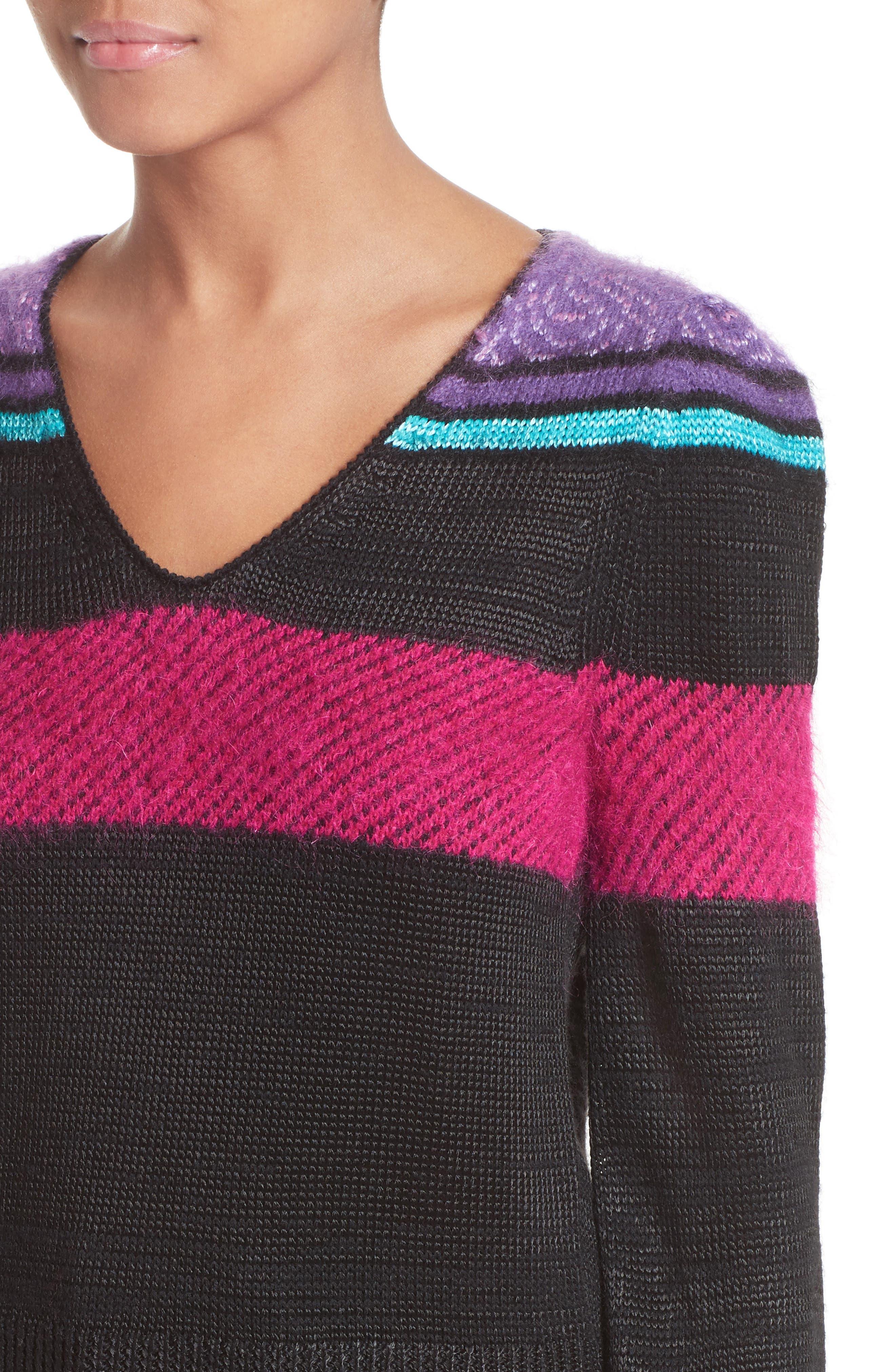 '80s Stripe Knit Sweater,                             Alternate thumbnail 7, color,                             Black Multi