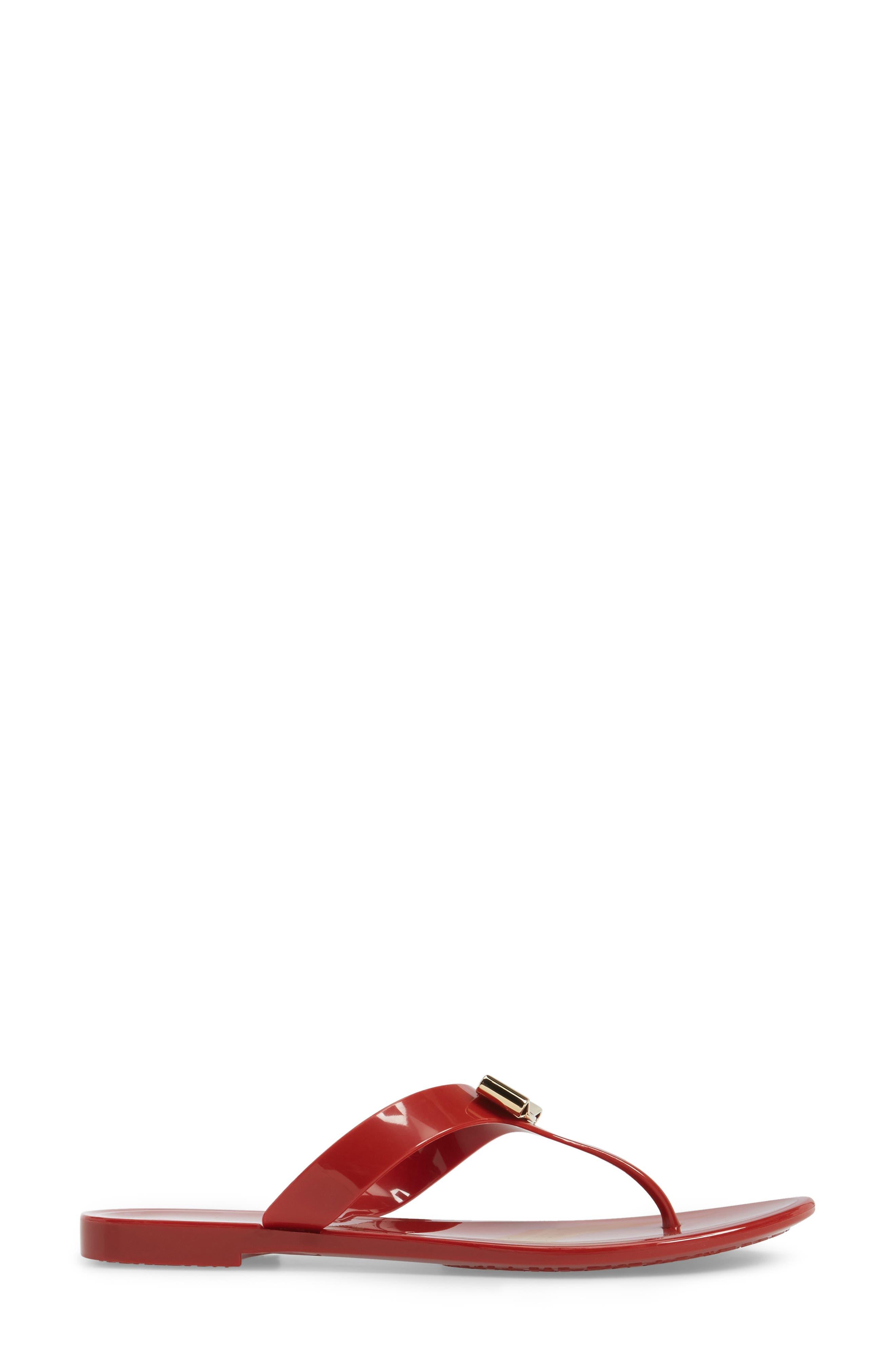 Farelia Jelly Flat Bow Sandal,                             Alternate thumbnail 3, color,                             Red Pvc