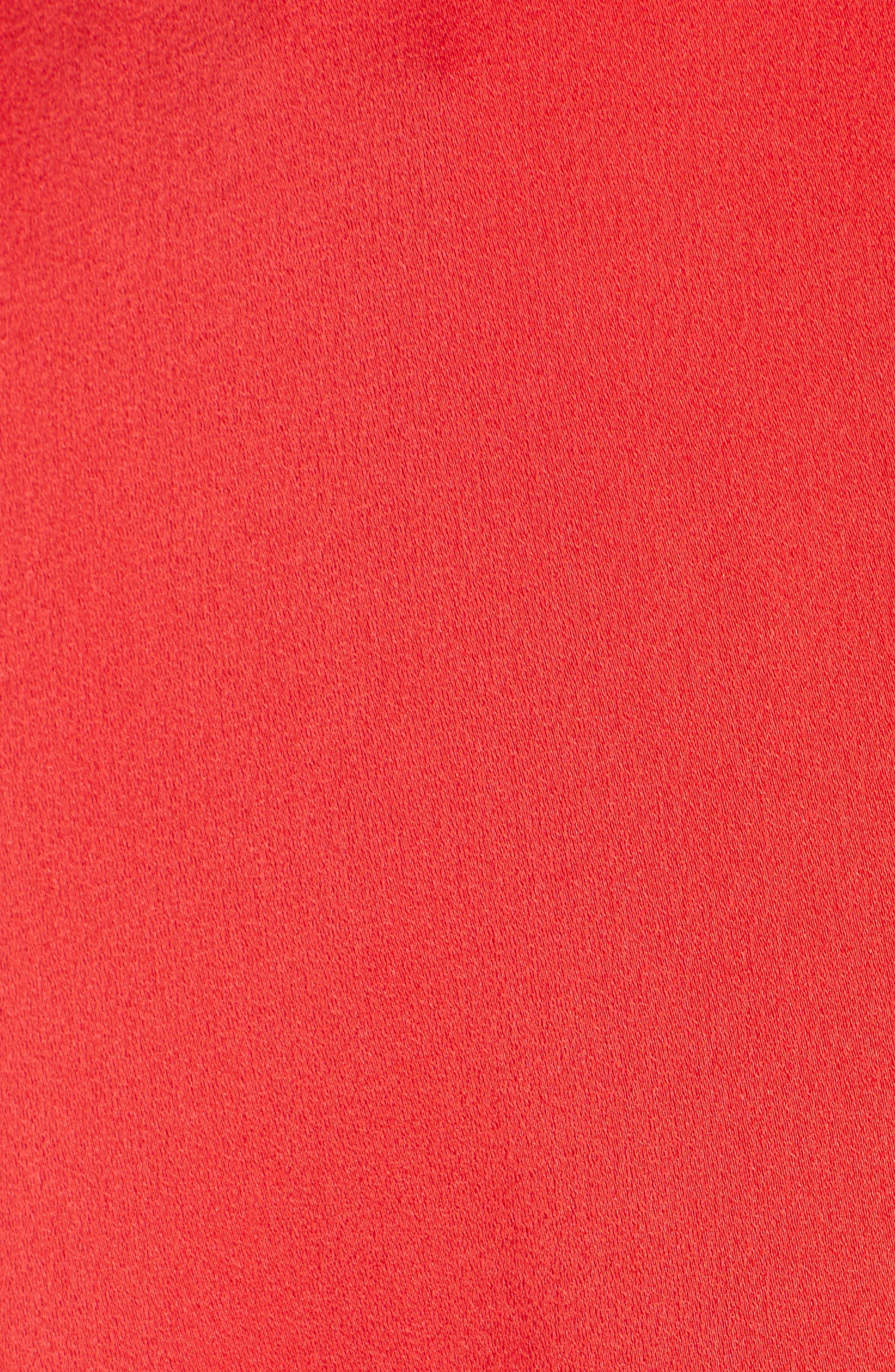 Bell Sleeve Tie Neck Dress,                             Alternate thumbnail 3, color,                             Poppy