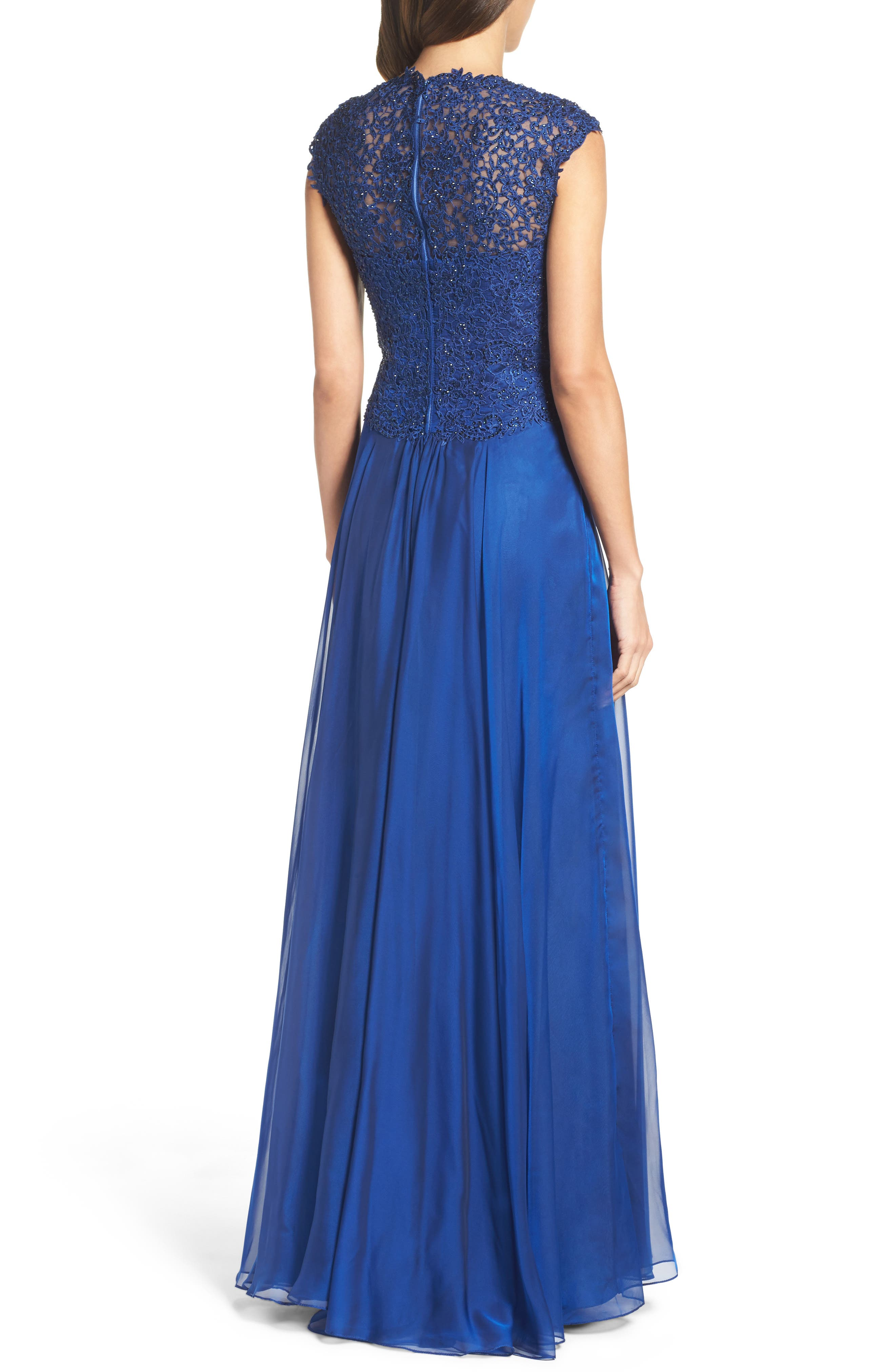 Ruched Chiffon Gown,                             Alternate thumbnail 2, color,                             Marine Blue