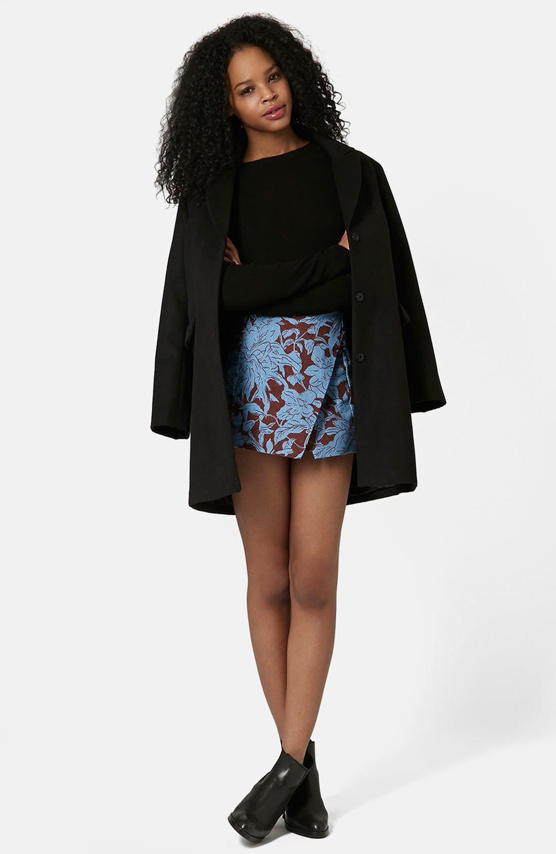 Alternate Image 5  - Topshop 'Cape Flower' Textured Wrap Skort