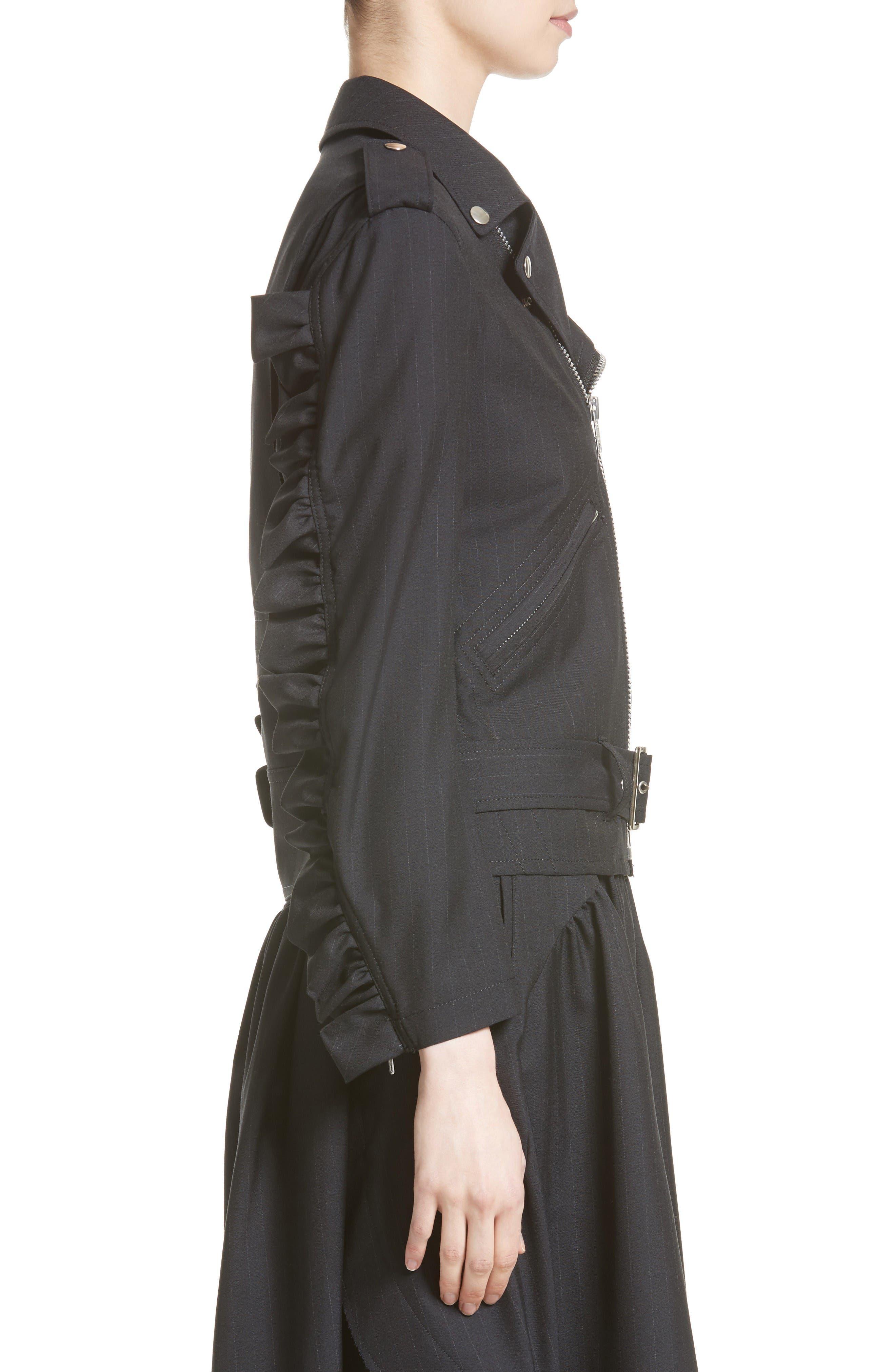 Alternate Image 5  - Comme des Garçons Pinstripe Tropical Wool Moto Jacket