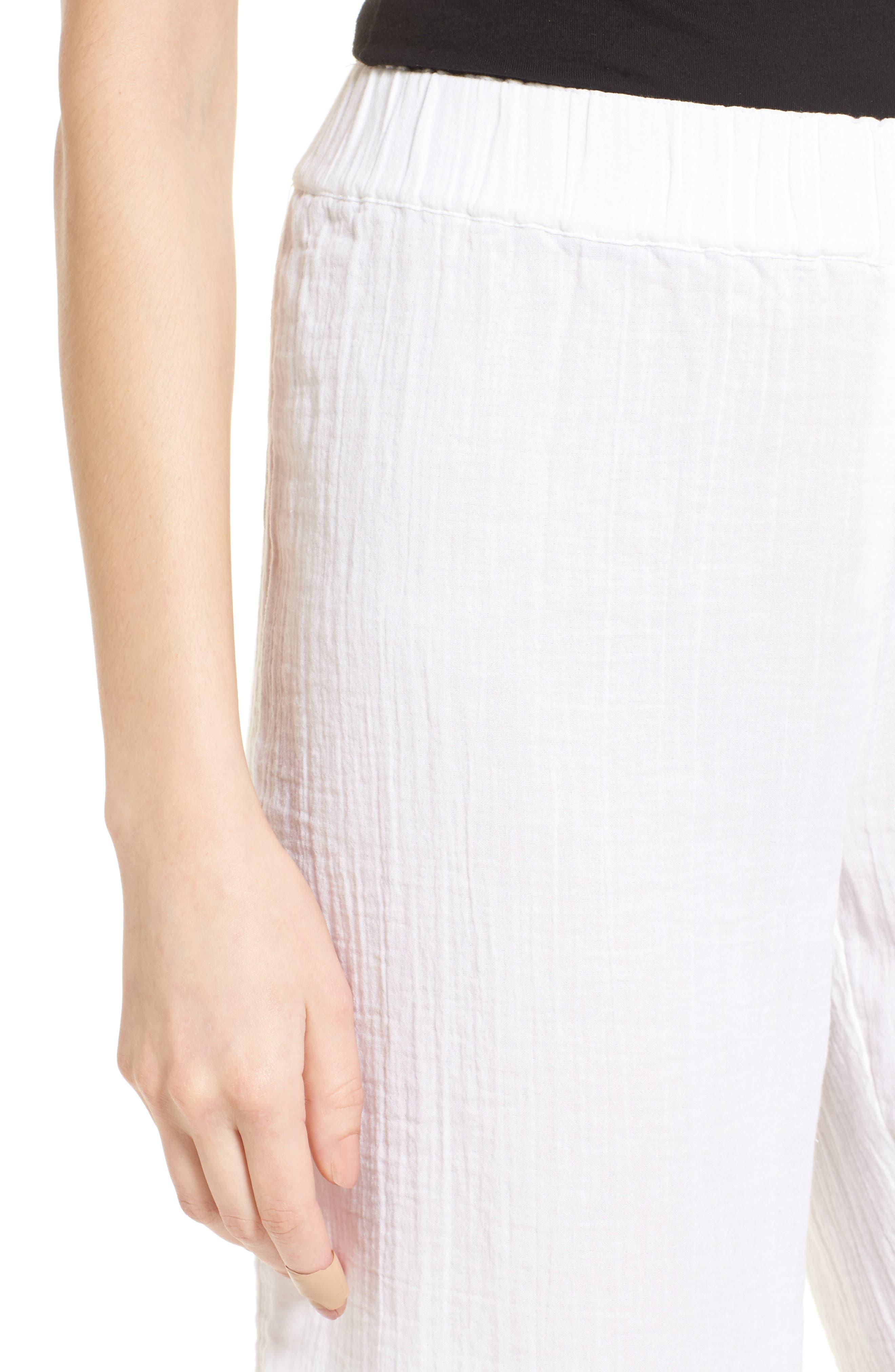 Organic Cotton Crop Pants,                             Alternate thumbnail 4, color,                             White