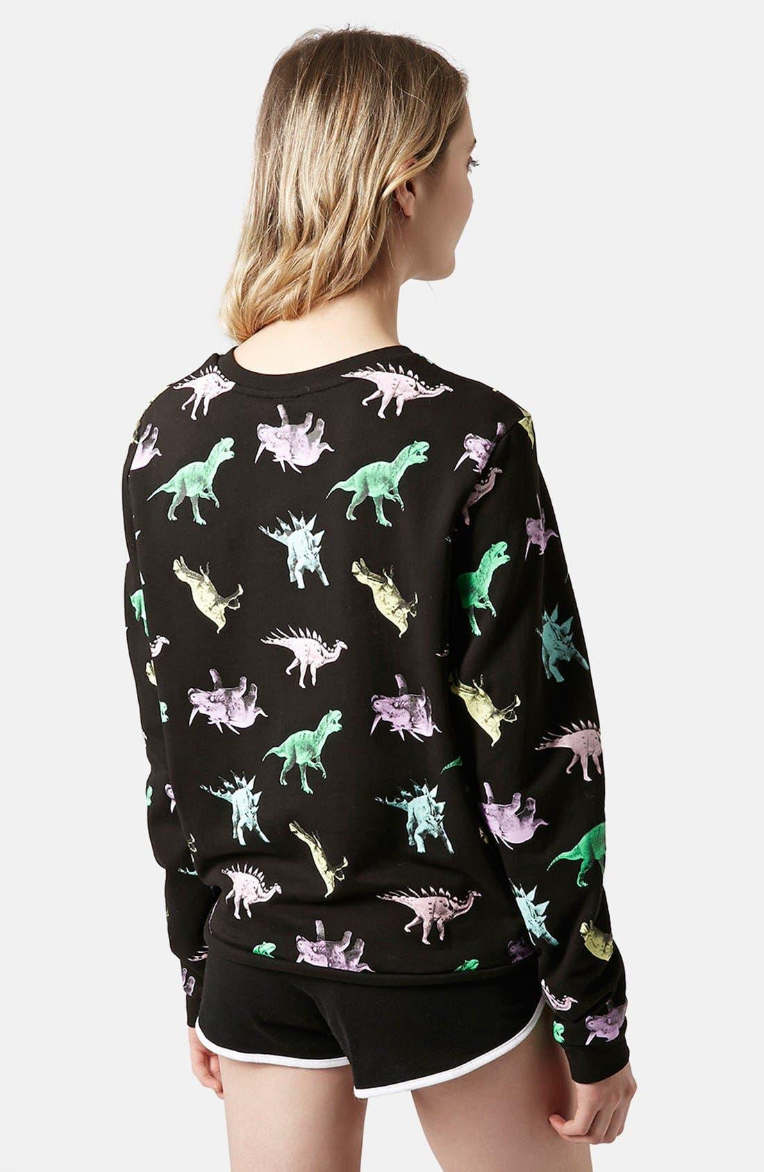 Alternate Image 2  - Topshop Fleece Lined Dinosaur Sweatshirt
