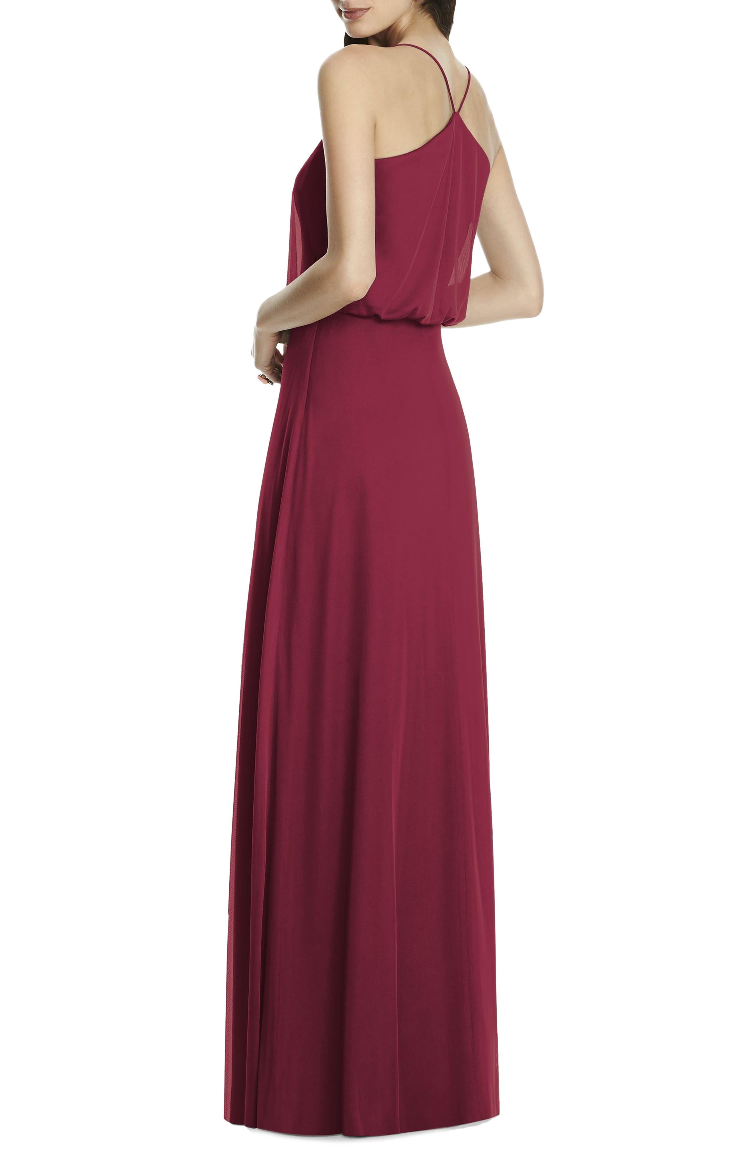 Chiffon Blouson Gown,                             Alternate thumbnail 2, color,                             Burgundy